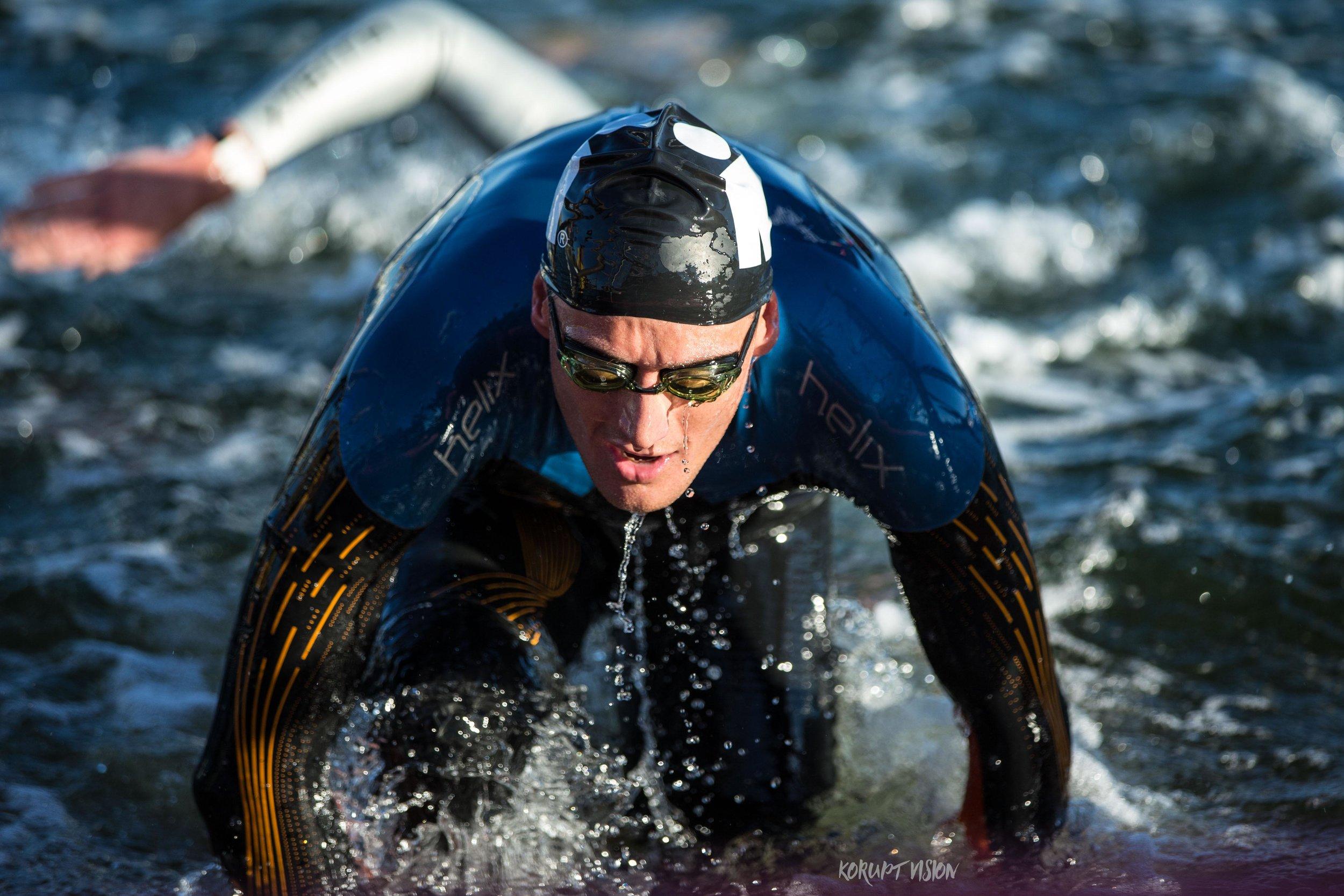 Clayton Fettell leads the swim at Ironman Australia