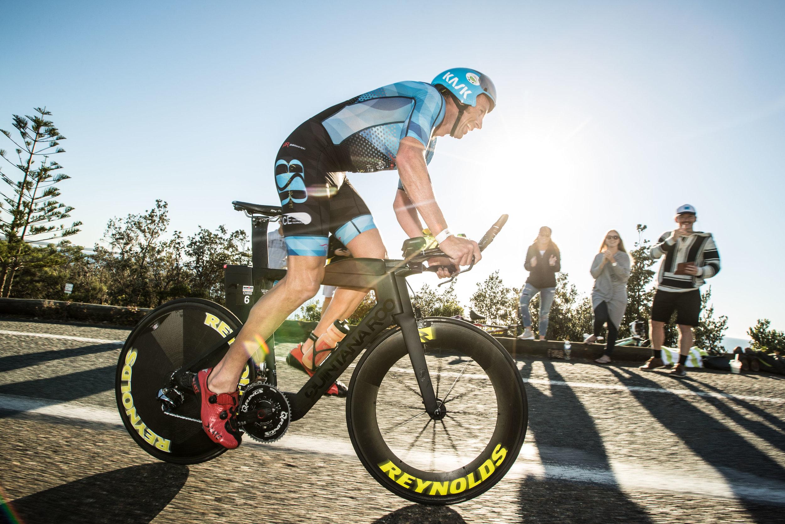 Chris McDonald starts the 180k bike leg...