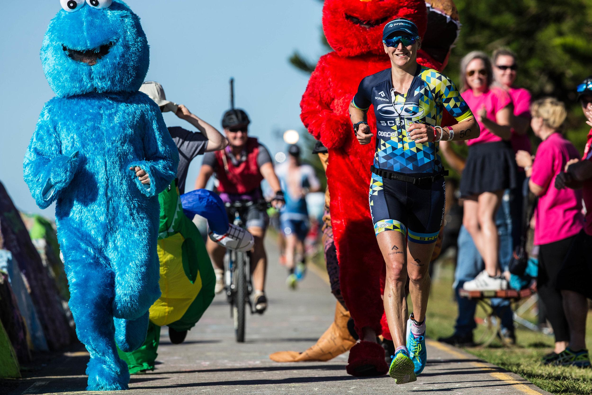 Laura Siddall had a few friends to help her through the marathon.