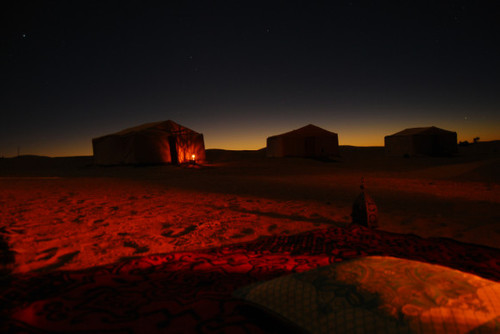 """""""Campsite by nightfall"""" – Sahara Desert picture from AZ Traveling."""