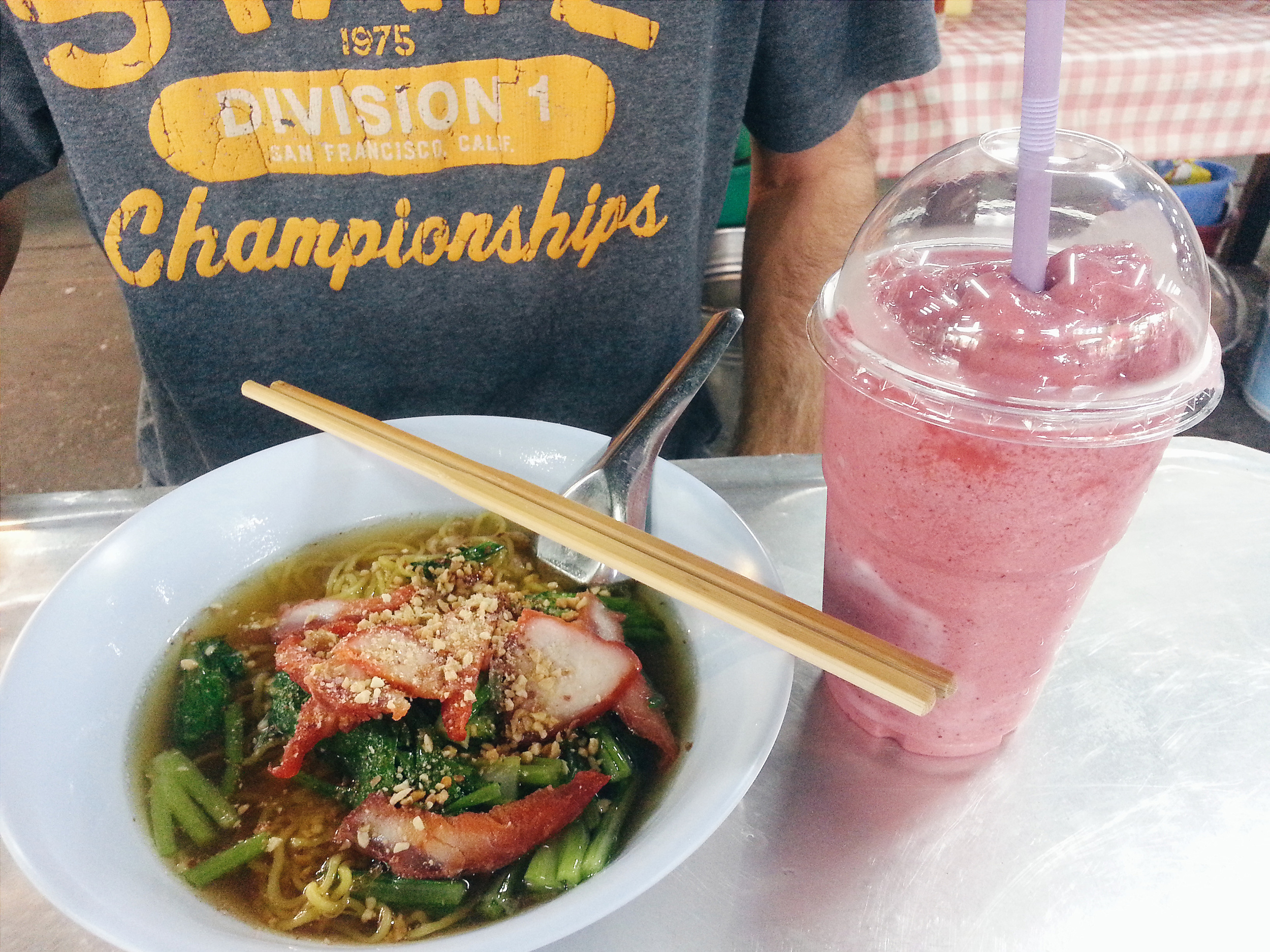 Bonus Picture: Dinner that night.Trio Berry Smoothie and Pork soup / 70 baht / $2.00 usd