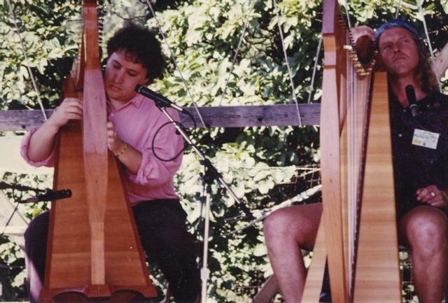 With Robin Williamson at the Philadelphia Folk Festival. 1990