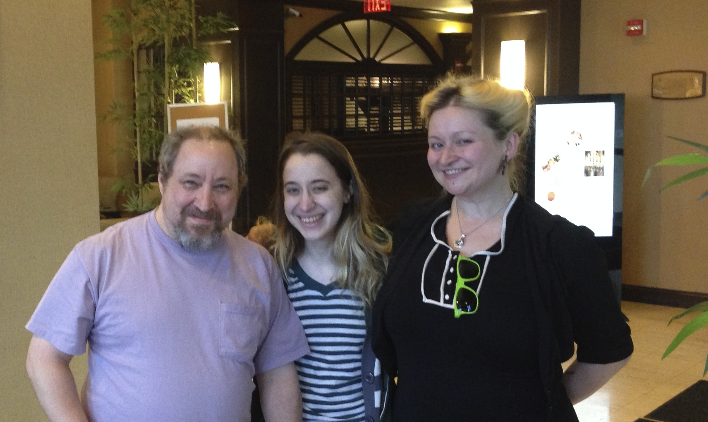 "With Eliza Carthy (right) and Laura Ansill (center) after Eliza recorded her vocals for ""If You Could Read My Mind"" for the Cheese Project in a hotel room in Boston. May 2014."