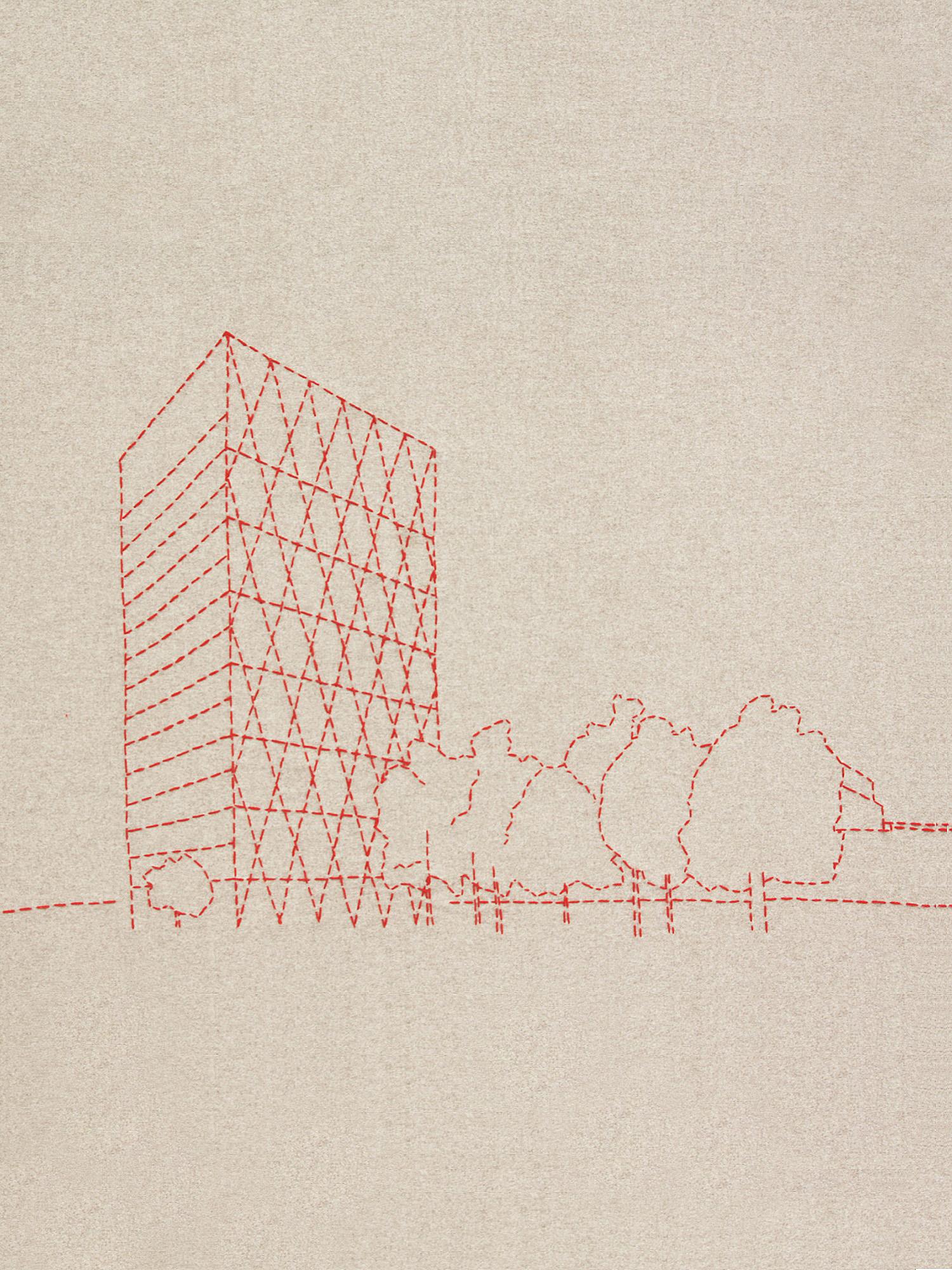 Detail aus dem bestickten Deckensegel, welches das Roche-Gebäude in Rotkreuz zeigt  Detail from the embroidered ceiling banner, which shows the Roche building in Rotkreuz