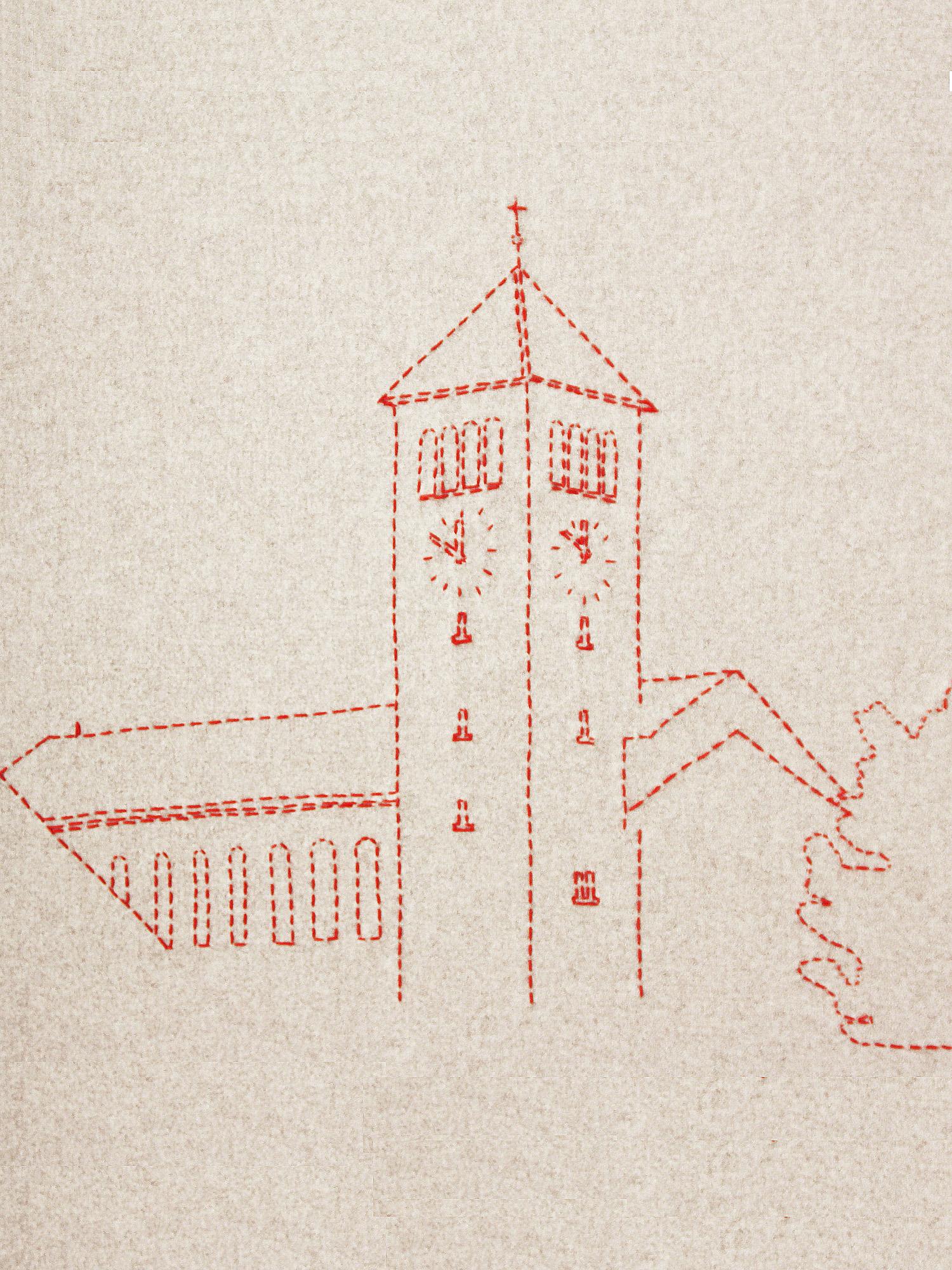 Detail aus dem bestickten Deckensegel, welches die Kirche in Rotkreuz zeigt  Detail from the embroidered ceiling banner, which shows the church in Rotkreuz