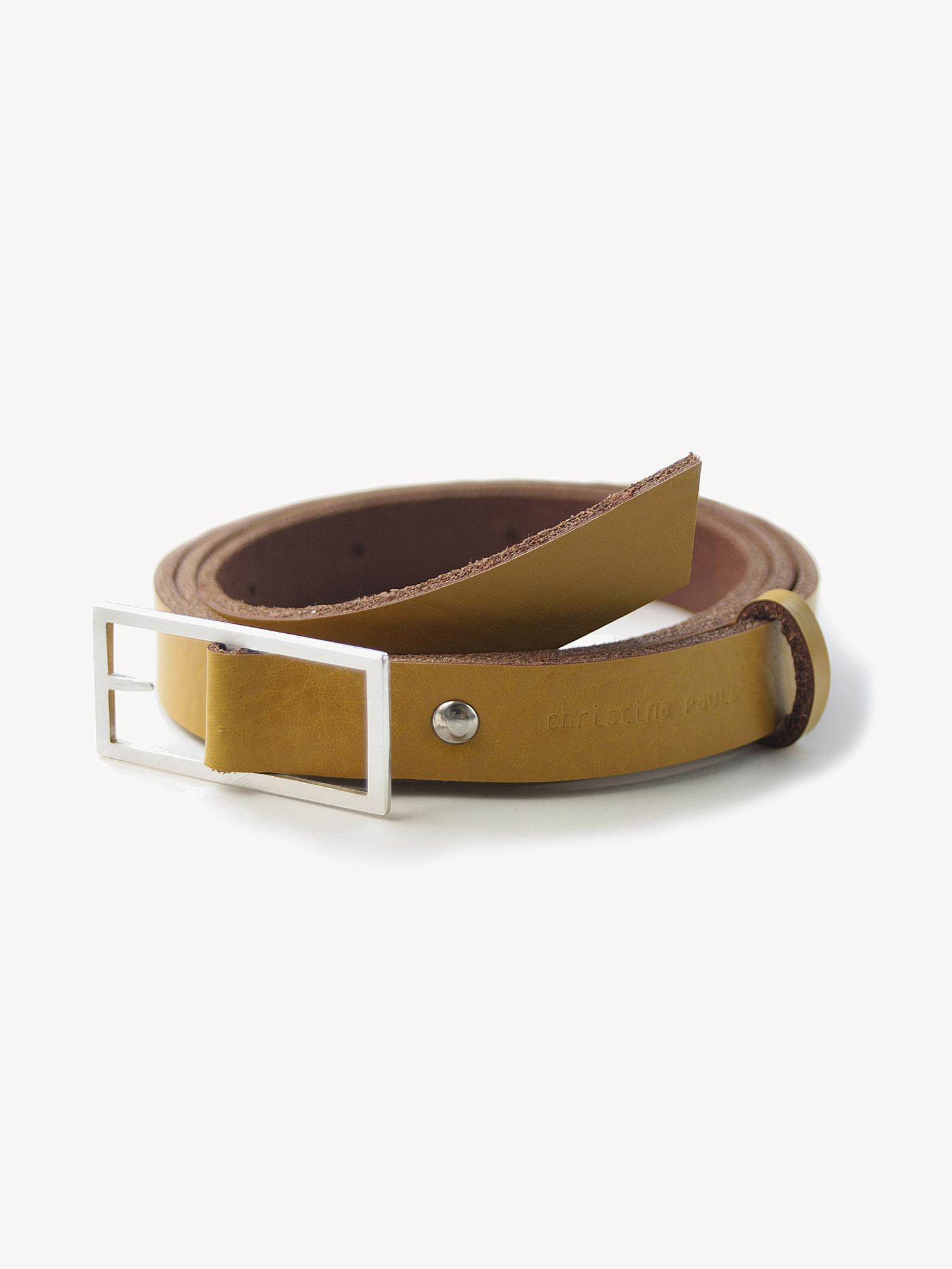 Leder-Gürtel, mittel in senfgelb  Leather belt, medium in curry