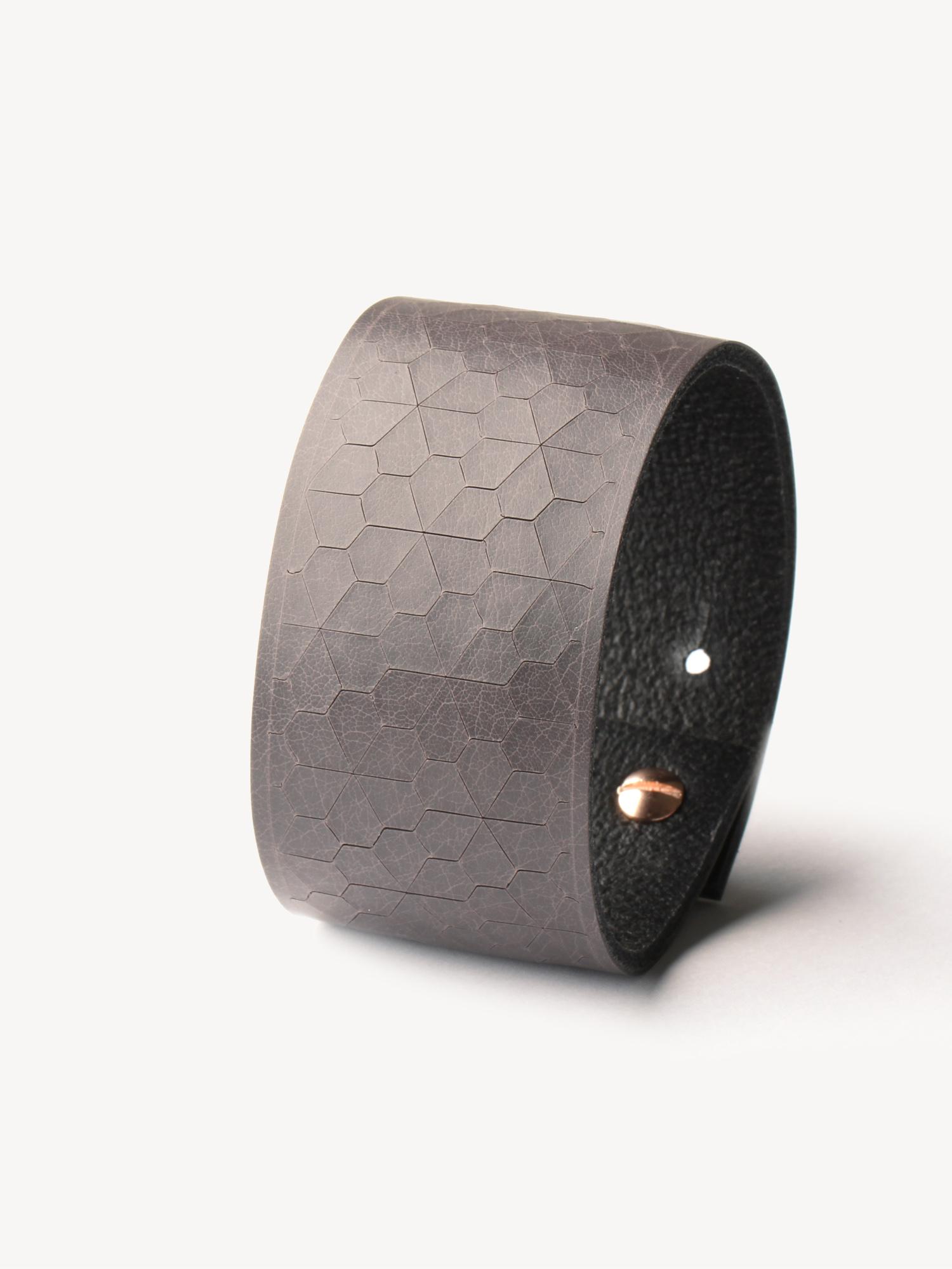 Leder-Armband, schmal in grau  Leather bracelet, small in grey