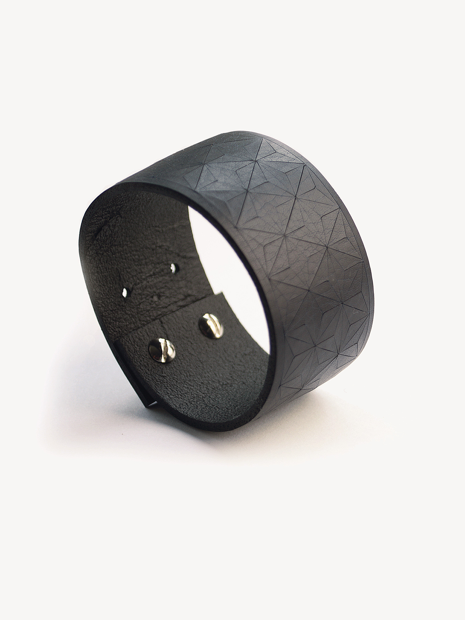 Leder-Armband, schmal in schwarz  Leather bracelet, small in black