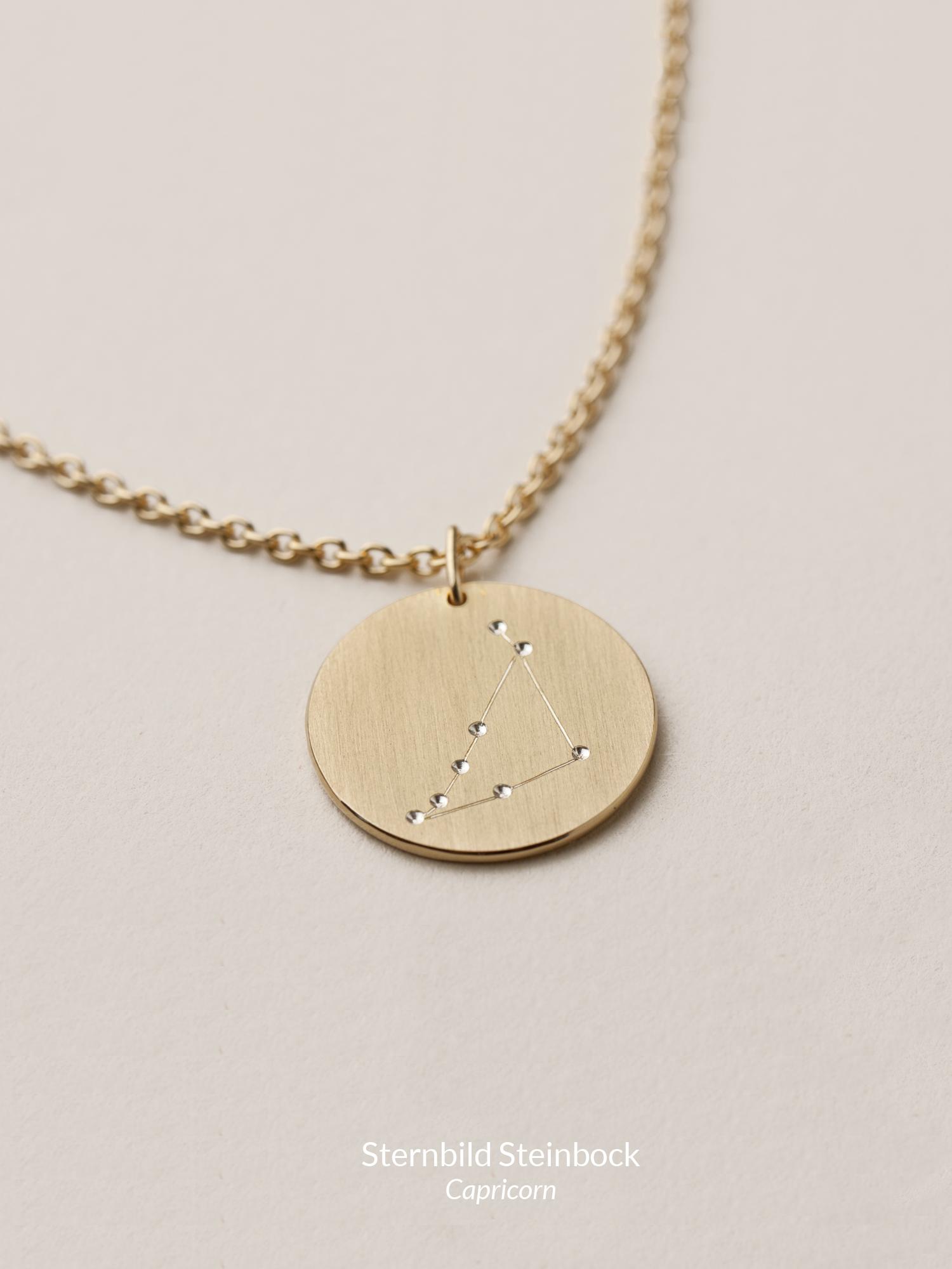Sternbild Anhänger Steinbock in goldplatiertem Silber  Zodiac sign pendant Capricorn in goldplated silver