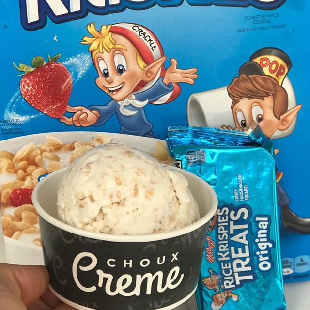 Try our NEW Rice Krispies ice cream !!! A treat you will love 😍. Tastes sooo good !!! . . #icecream #chouxcremefullerton #yummy #foodporn #dessert #madetoorder #liquidnitrogenicecream #tasty #creamy #cream #creme #taro #thaitea #fruitypebbles #delicious #sogood #goodday #hot #yum #sweet #woo #woohoo #orangecountyfood #ocfood #insiderfood #foodnetwork #buzzfeed #fullerton #downtownfullerton