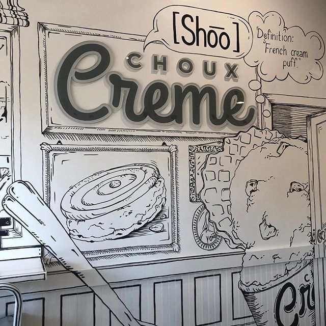 take a peek at our newly renovated shop 🙈 . . . #liquidnitrogenicecream #icecream #chouxcreme #chouxcremefullerton #dessert #new #wallart #art #design #instagram #fullerton #downtownfullerton #welcome #love #sweet