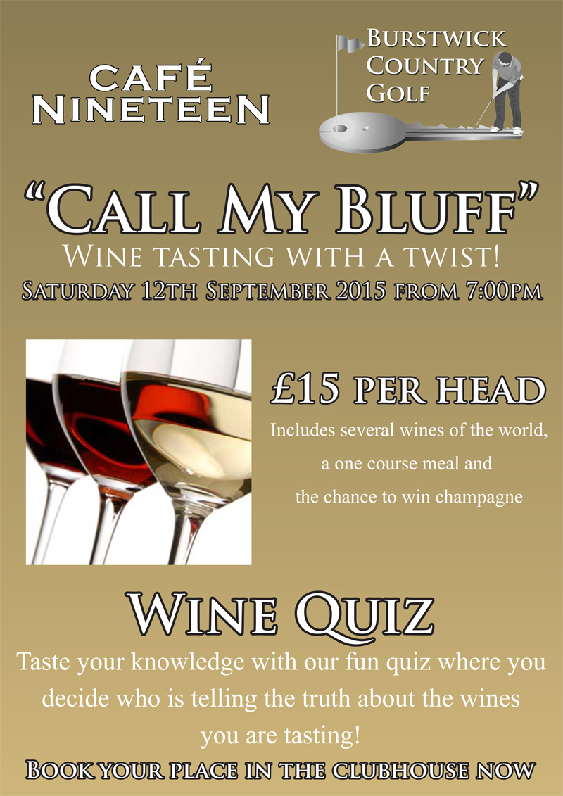 'Call My Bluff' Wine Tasting