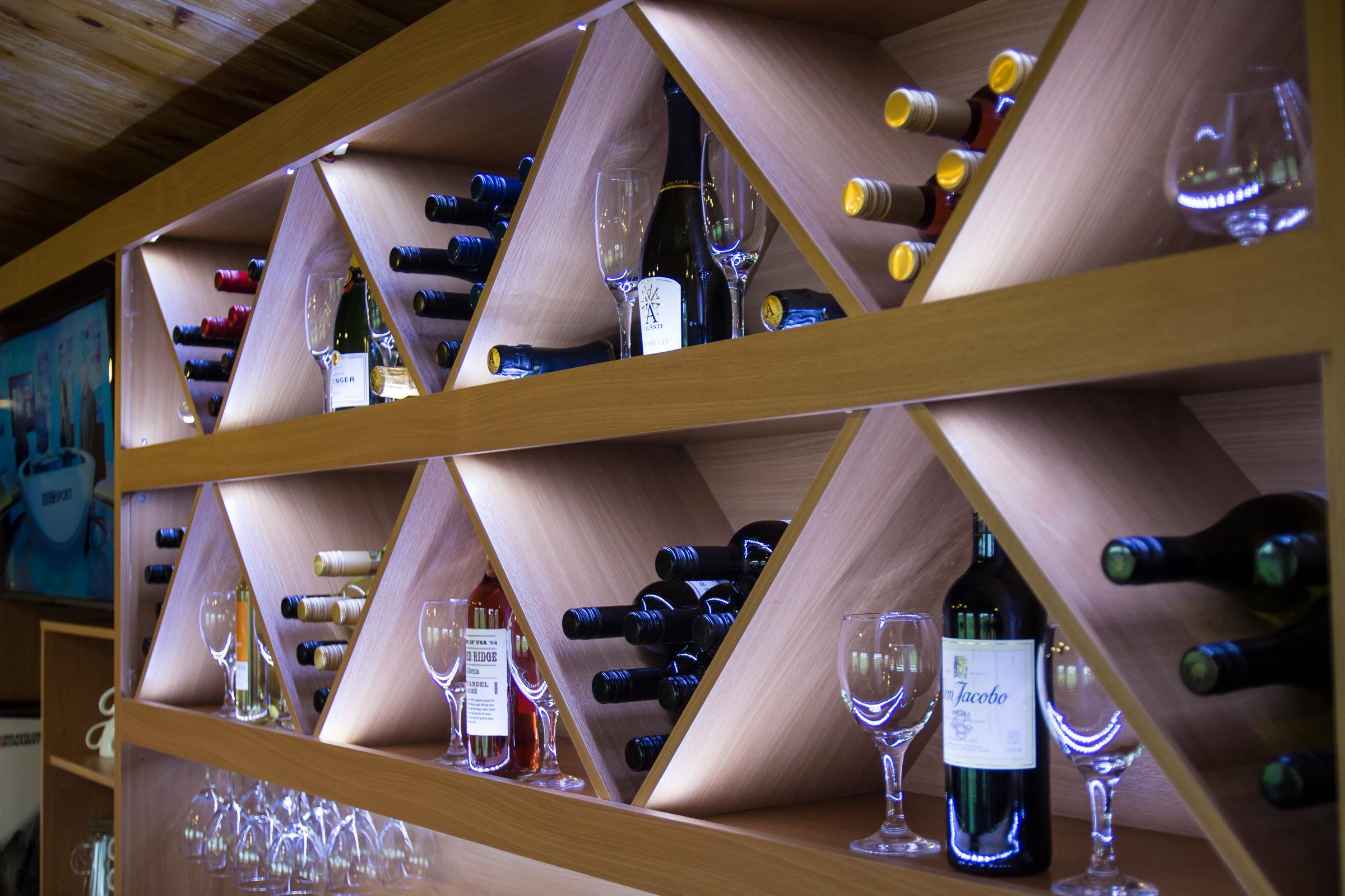 LED Lit Wine Rack
