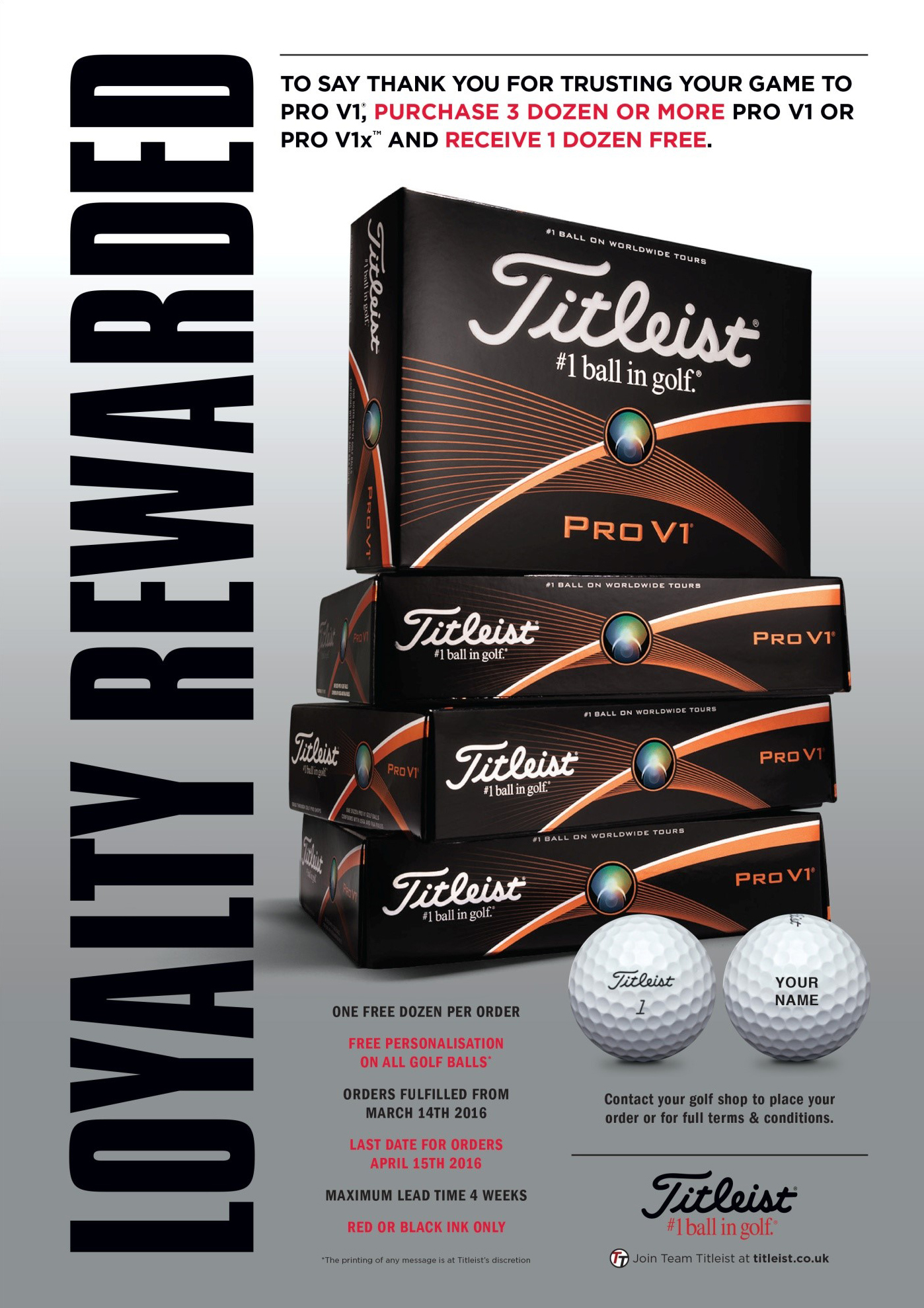 Titleist Pro V1 Four for Three Offer