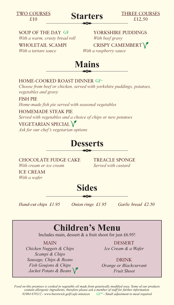 Sunday Menu 12-4pm
