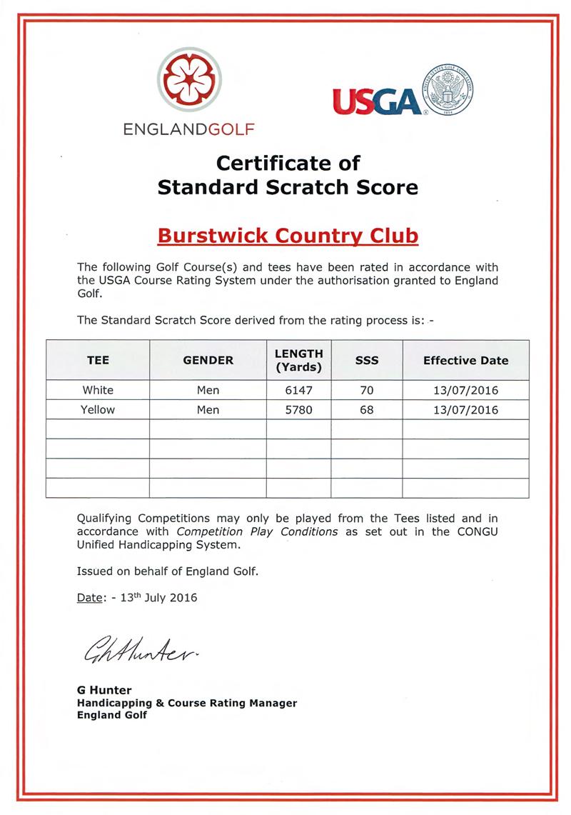 Standard Scratch Score