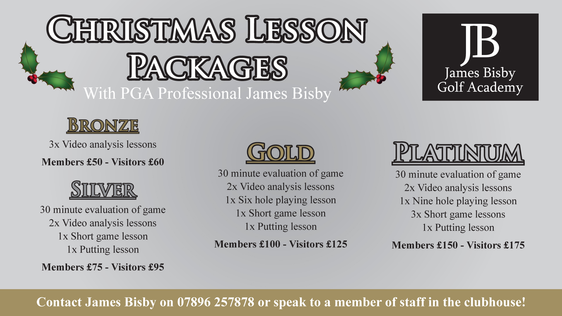 Christmas PGA Tuition Packaged 10 minutes from Hull