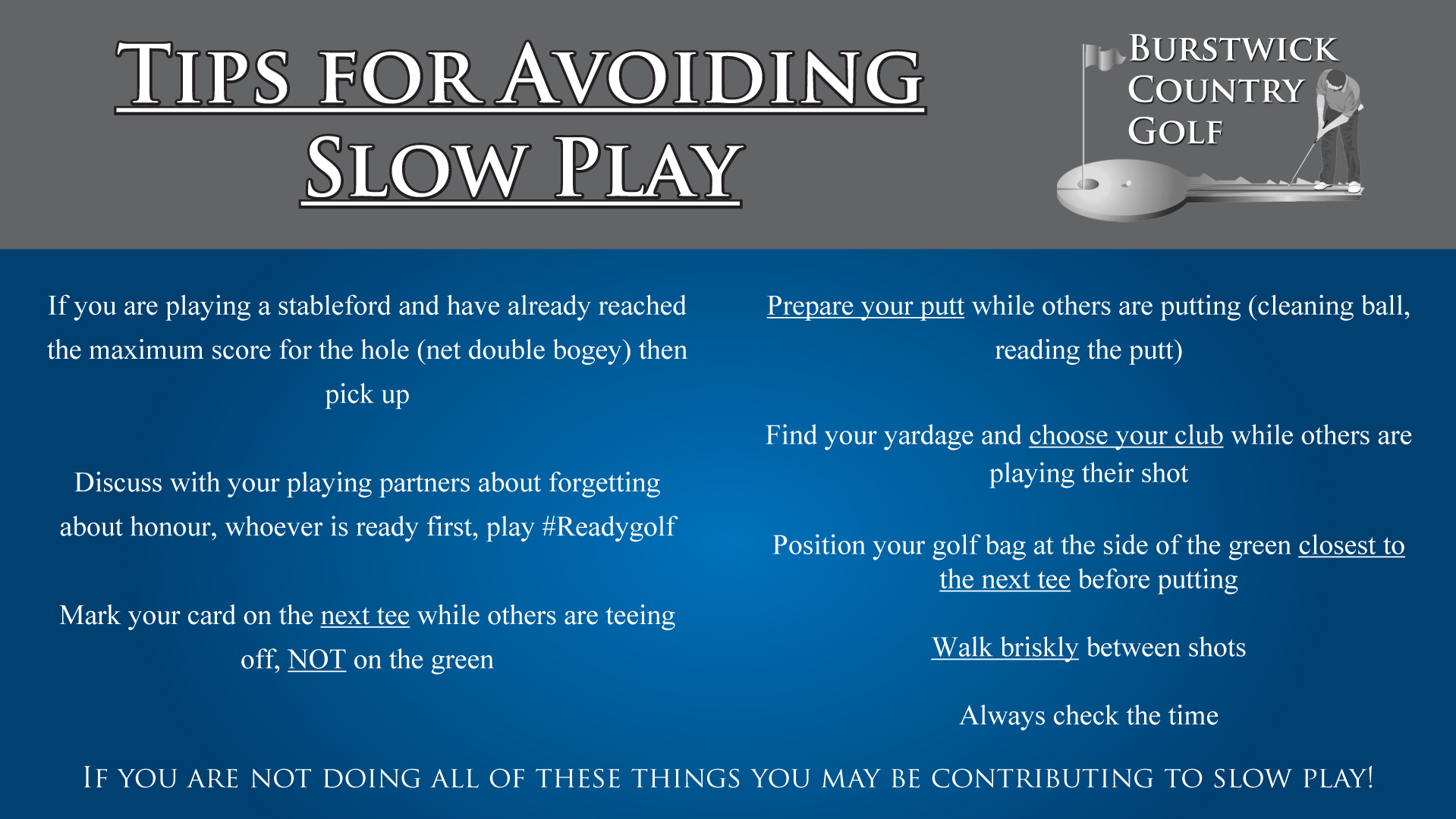 Tips to avoid slow play