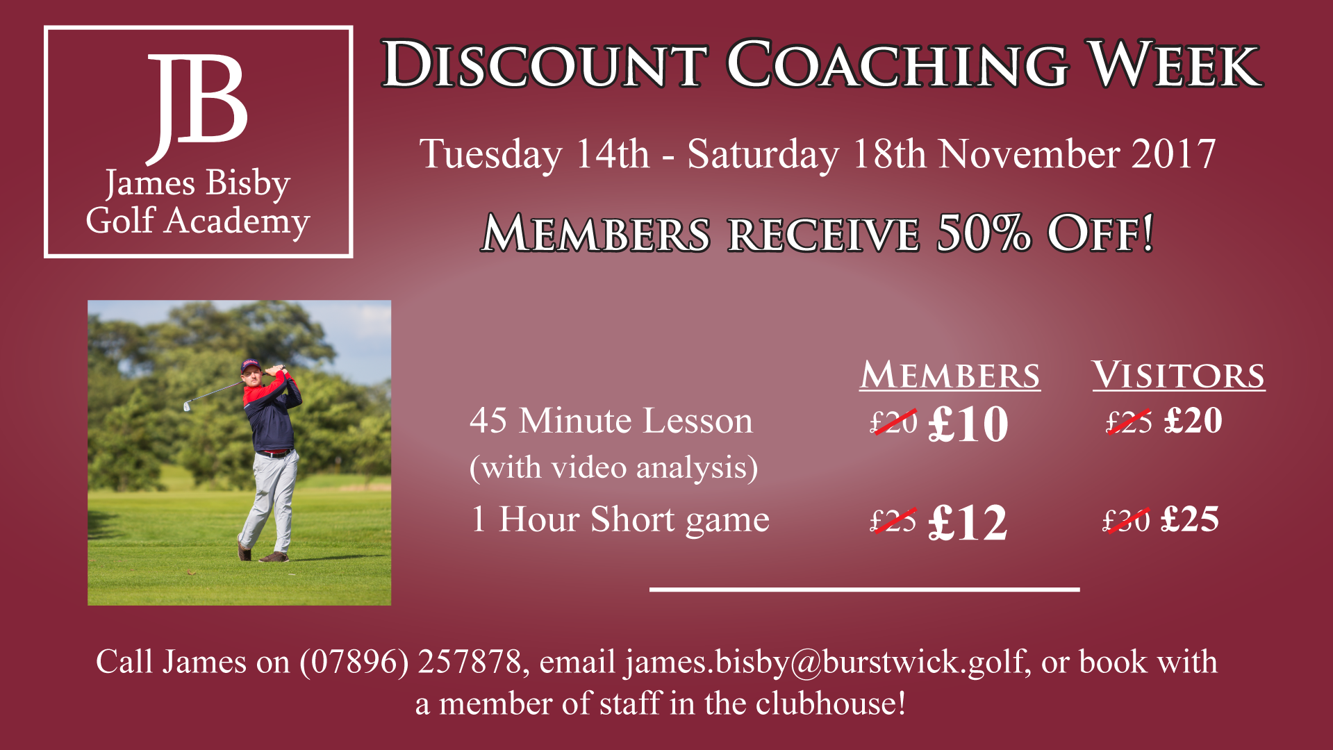 Discount Golf Coaching Week with James Bisby