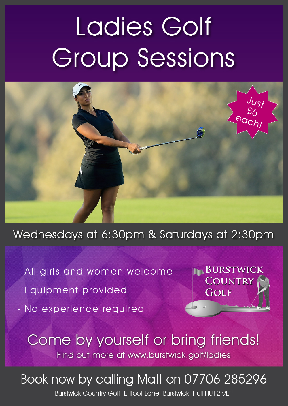 Lady and girl golf coaching near Hull
