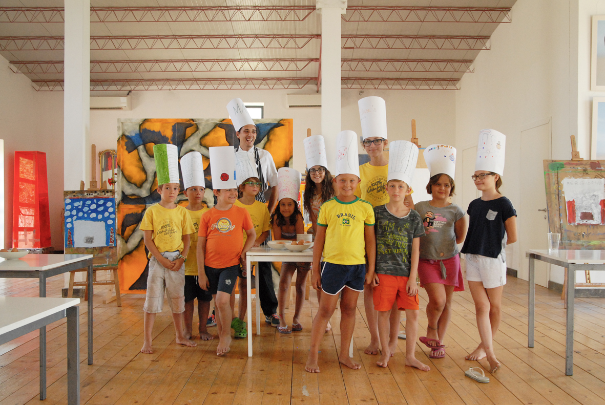 During that same week our friend Gina was visiting from New York with her two daughters and Juliet (far right) got to participate in the pasta class with the other kids. She's already an incredible kid but her fearlessness in a room full of kids who didn't speak the same language was truly admirable. Plus, her homemade hat was wicked.