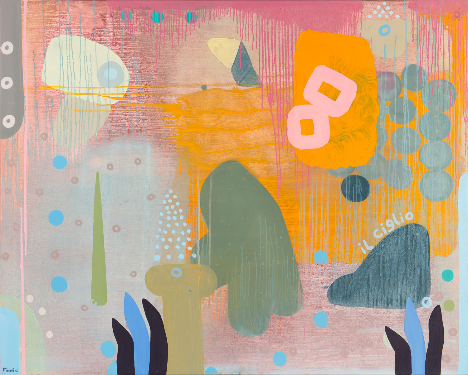 Low-Fat Pink Climbing an Olive Tree | oil on canvas | 120 x 150 cm