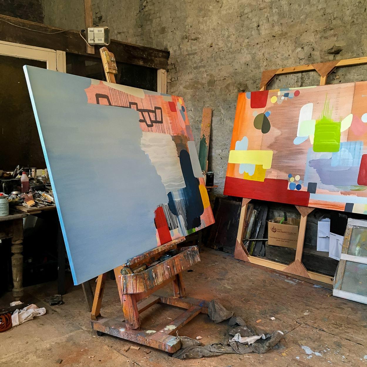 Artist Studio Martin Finnin   Large oil on canvas