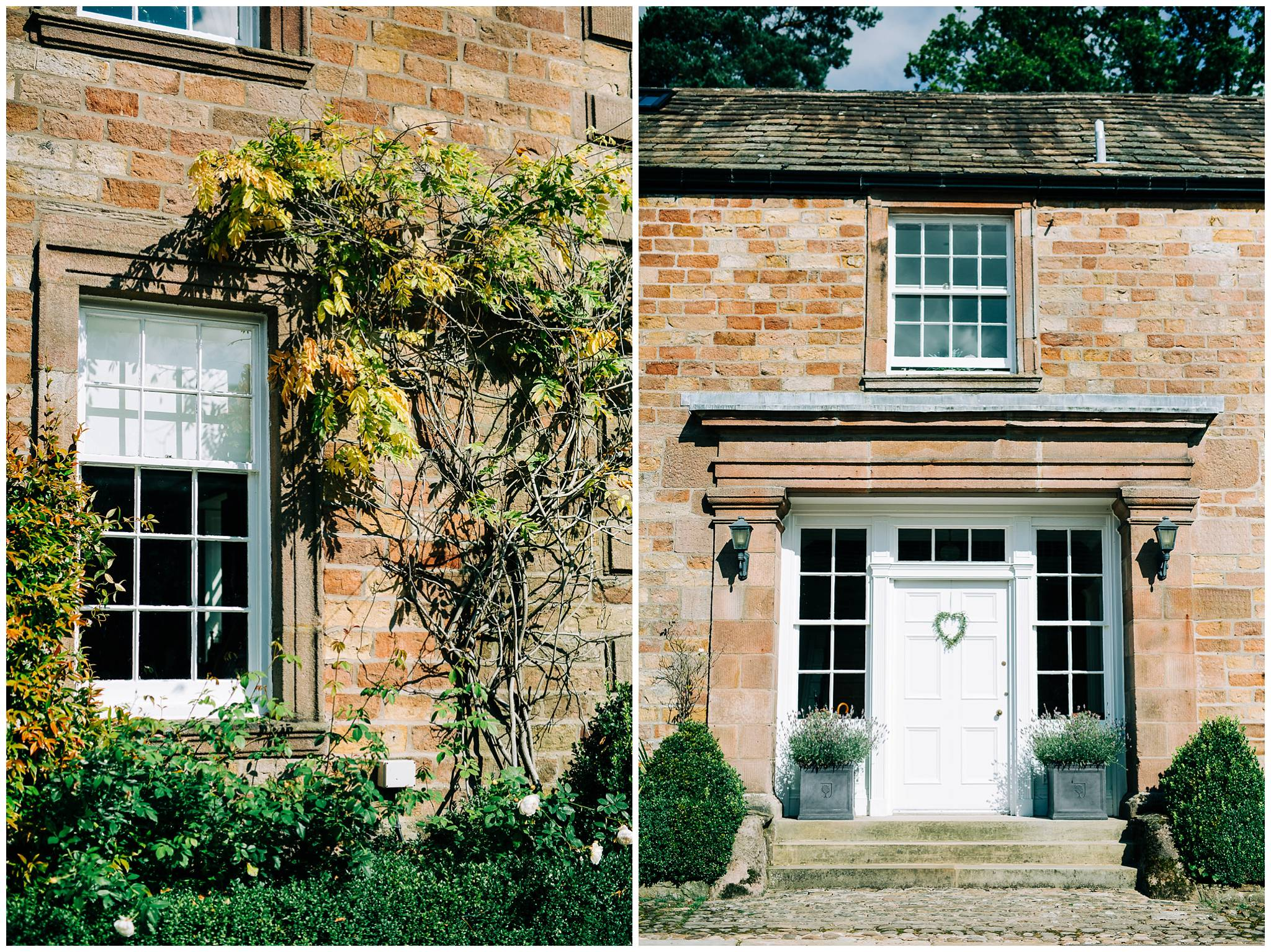 detail images of the building on the Browsholme estate, such a wysteria and sash window