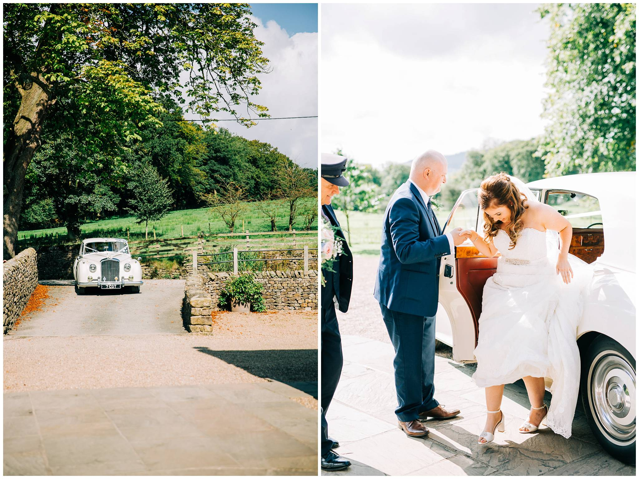 the bridal bentley car arrives, and the bride steps out of the car whilst holding the hand of her stepfather in one hand and her dress in the other