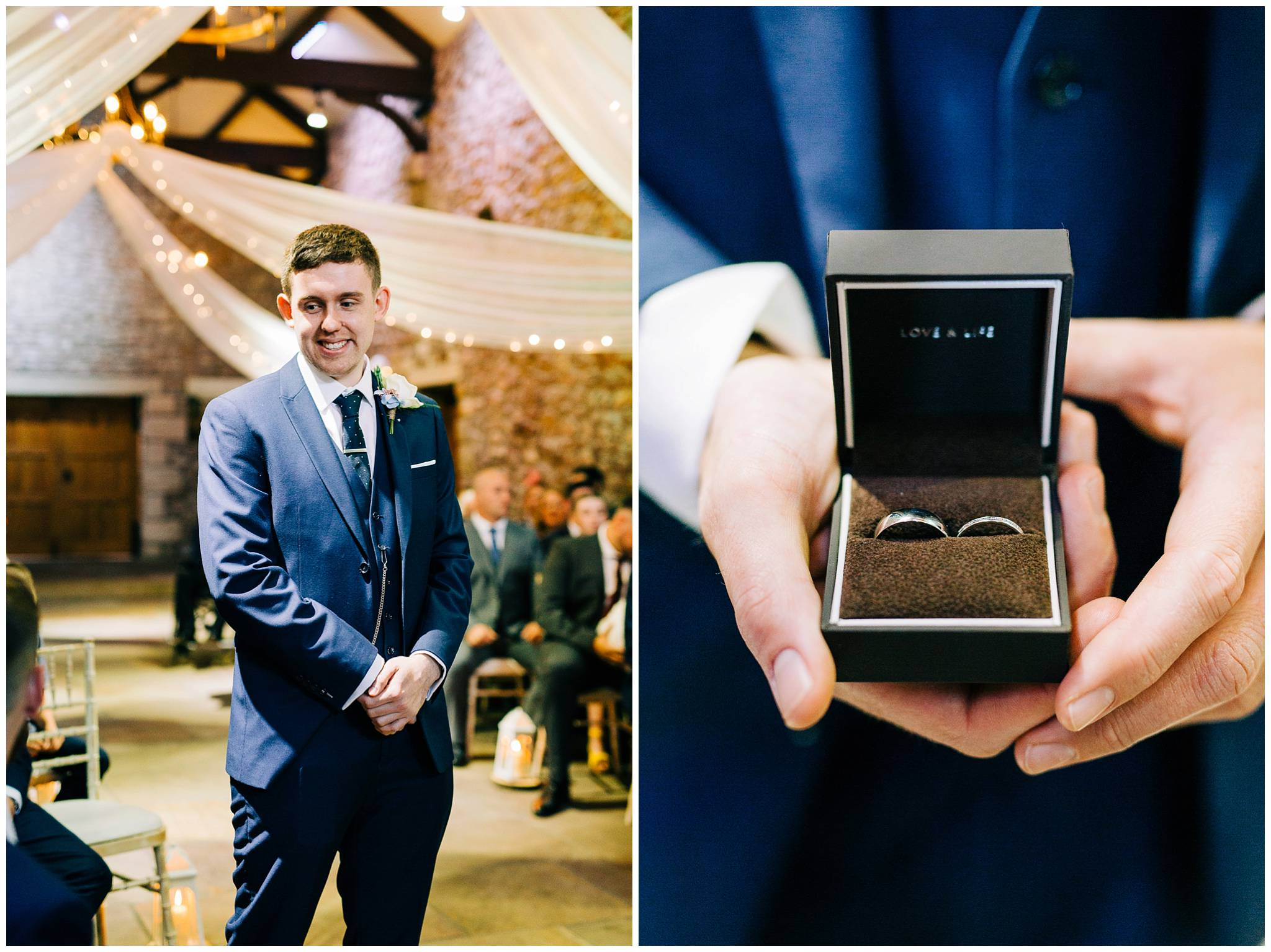 portrait of the groom stood waiting at the end of the aisle and a close up of the wedding bands