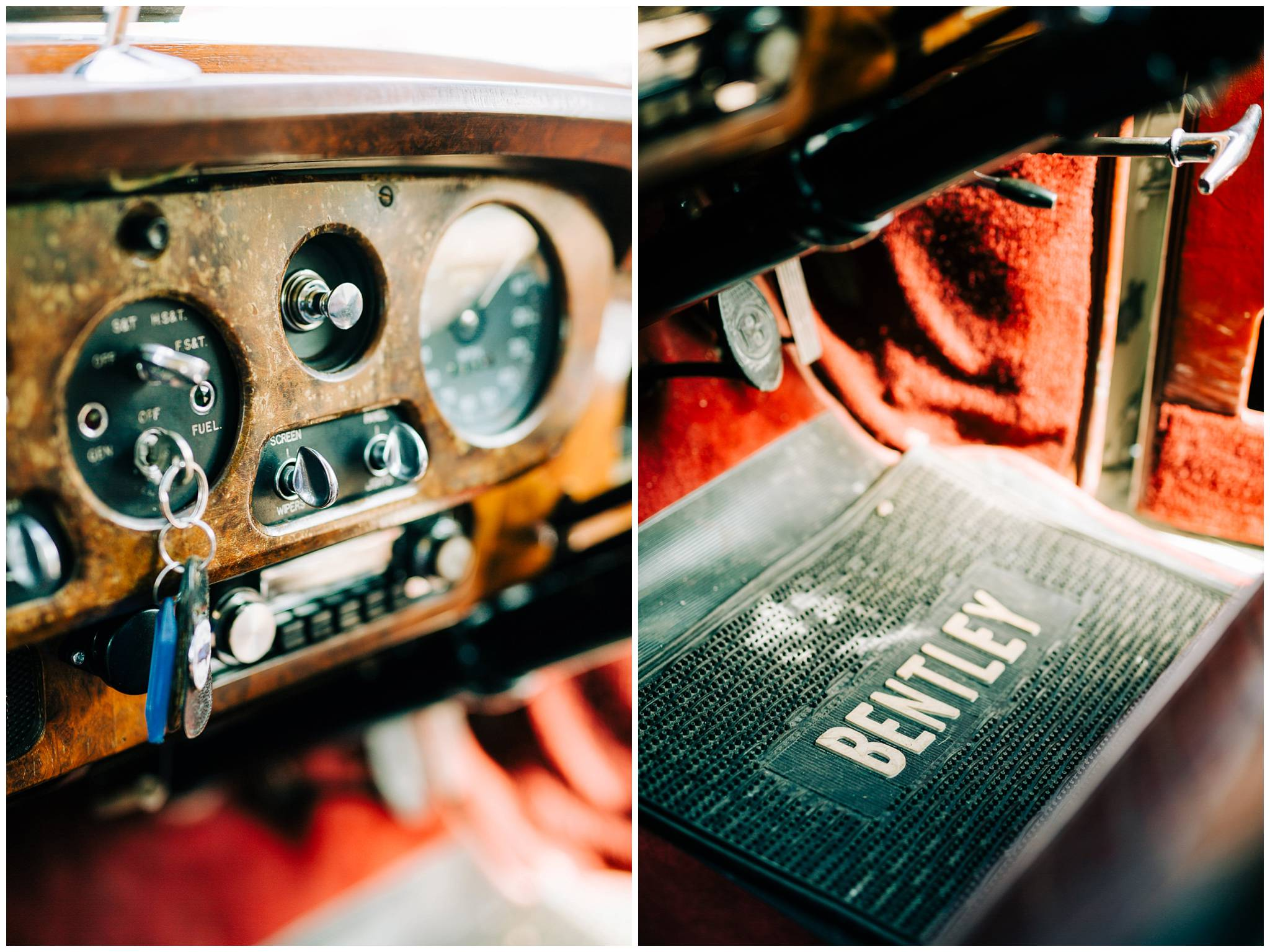 dashboard and car mats from a white vintage bentley