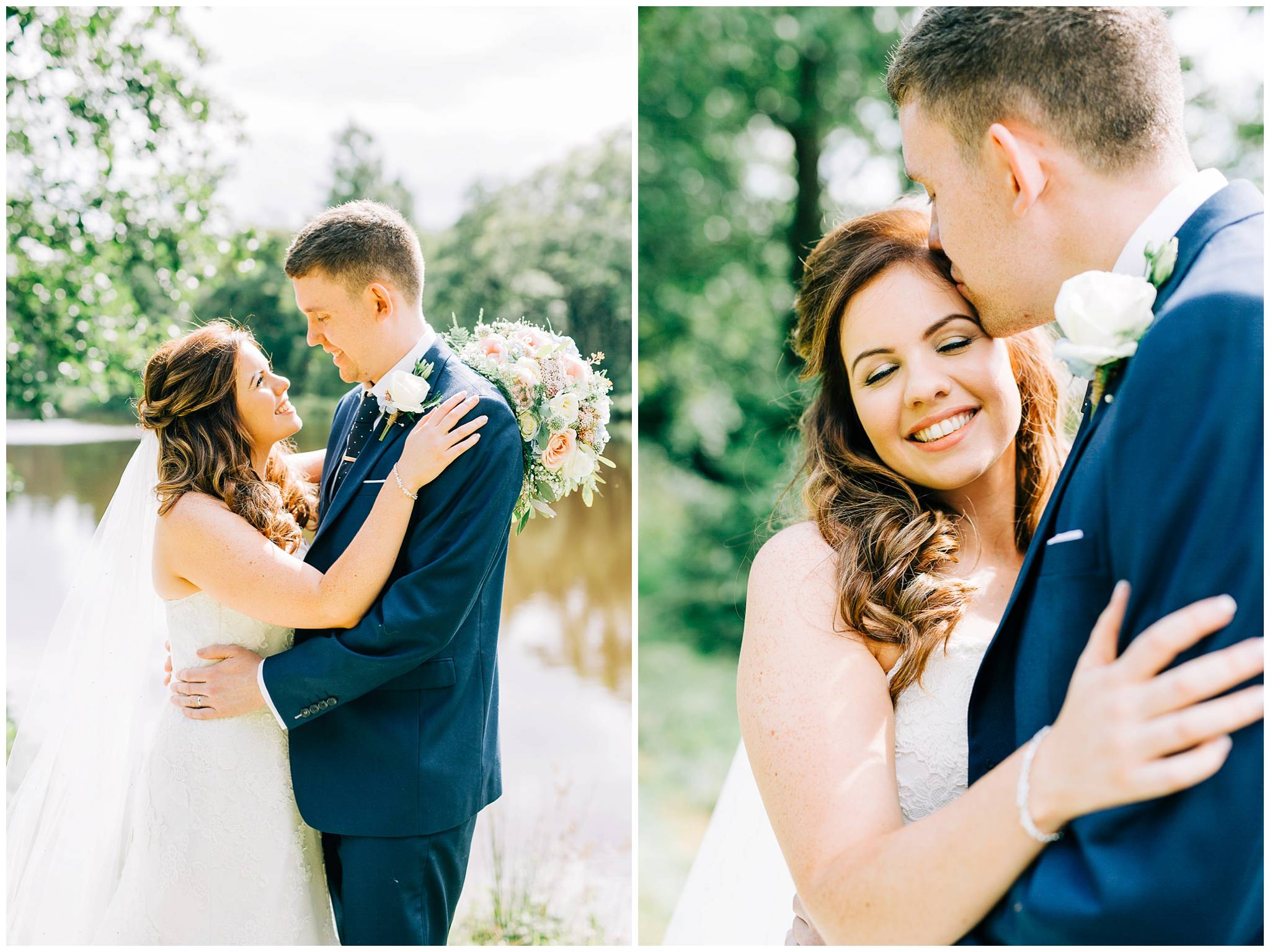 bride and groom cuddling closely lakeside at browsholme hall tithe barn