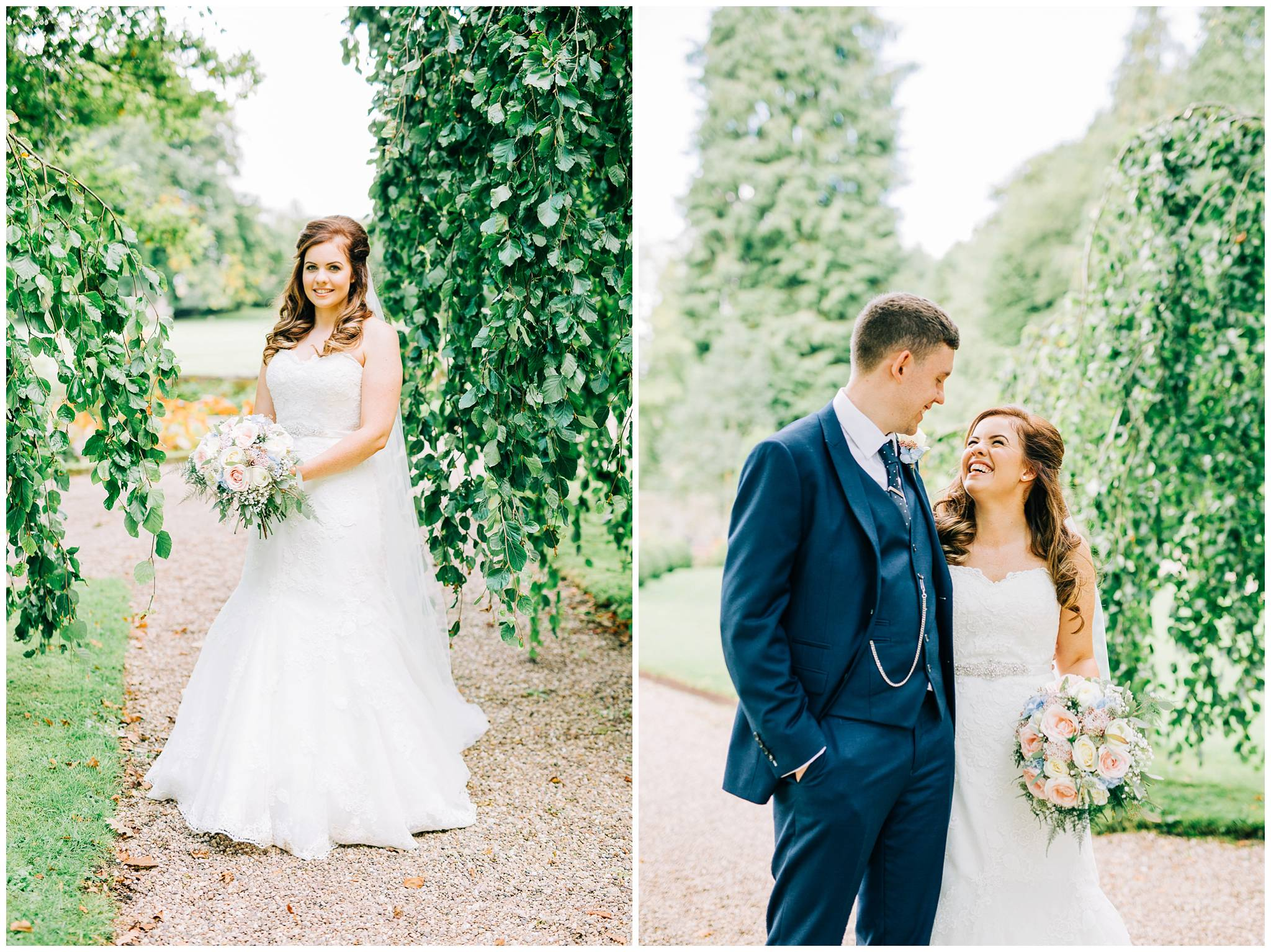 bride on her own and then bride and groom stood smiling within the gap of a willow tree