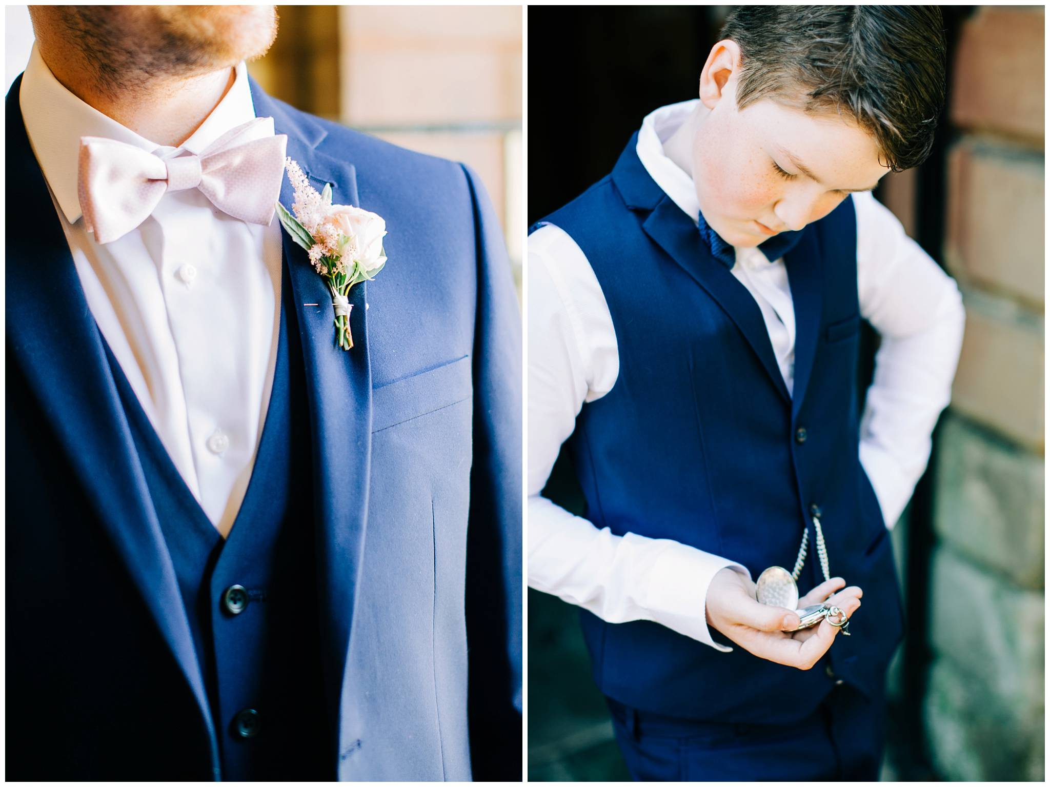 a close up of grooms pink floral button hole, and a young guest looking at his watch