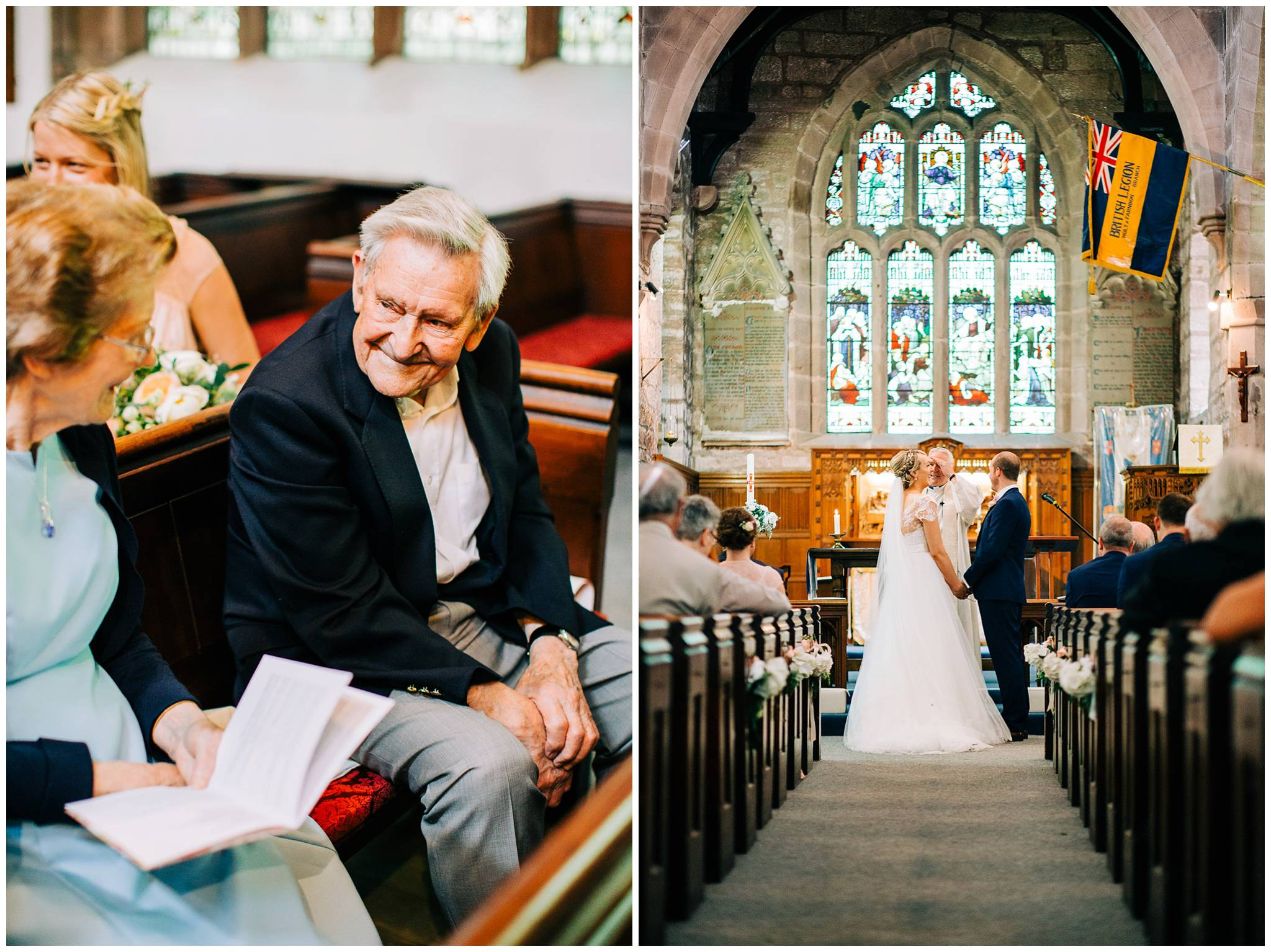 older gentleman sharing a smile with a guest whilst ther bride and groom are at the altar