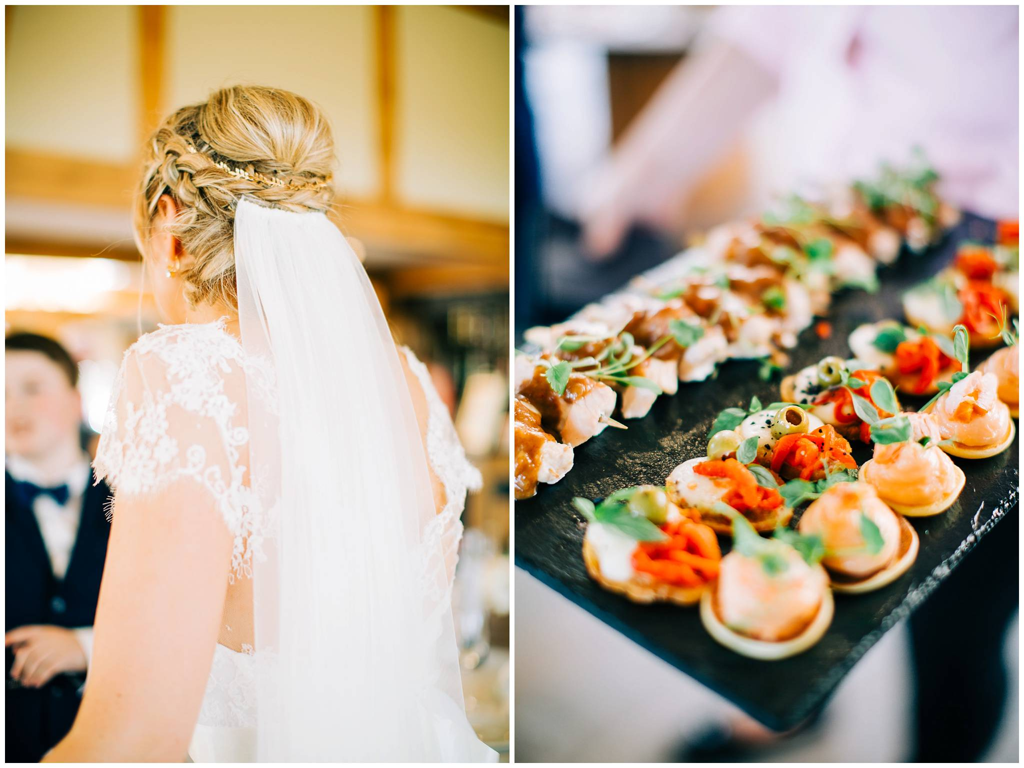 the brides beautiful plait updo woth veil and a close up of the wedding canapes