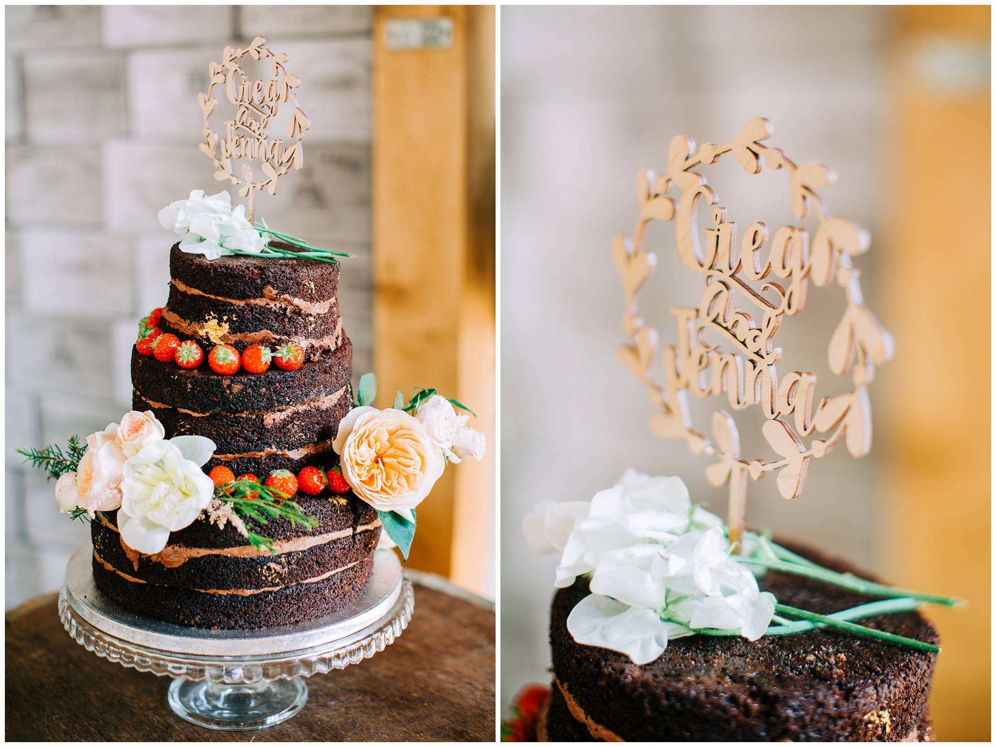 nakes choclate sopinge wedding cake with gold leaf and strawberries