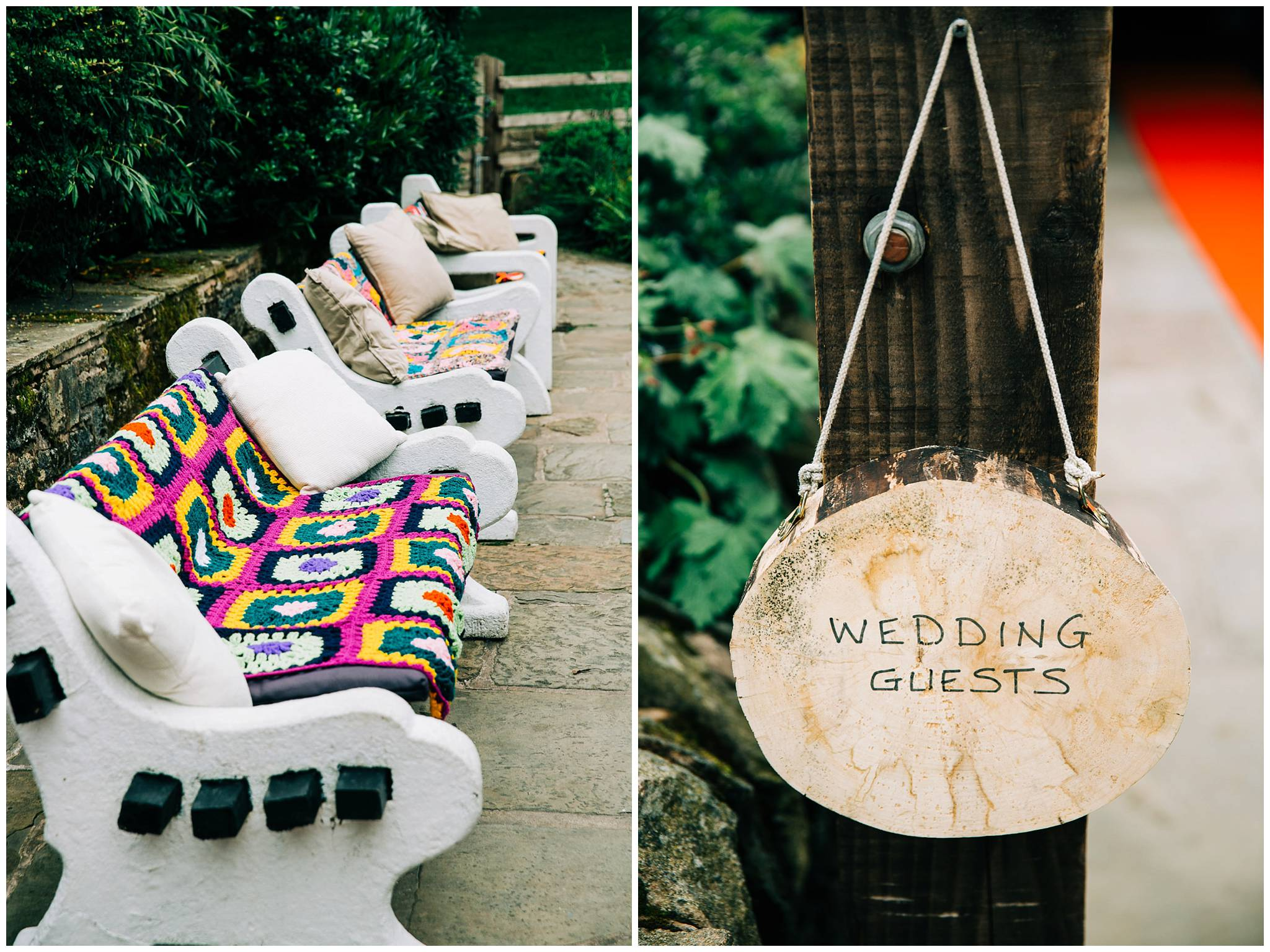 handmade crochet blankets on outdoor benches and a wooden wedding sign