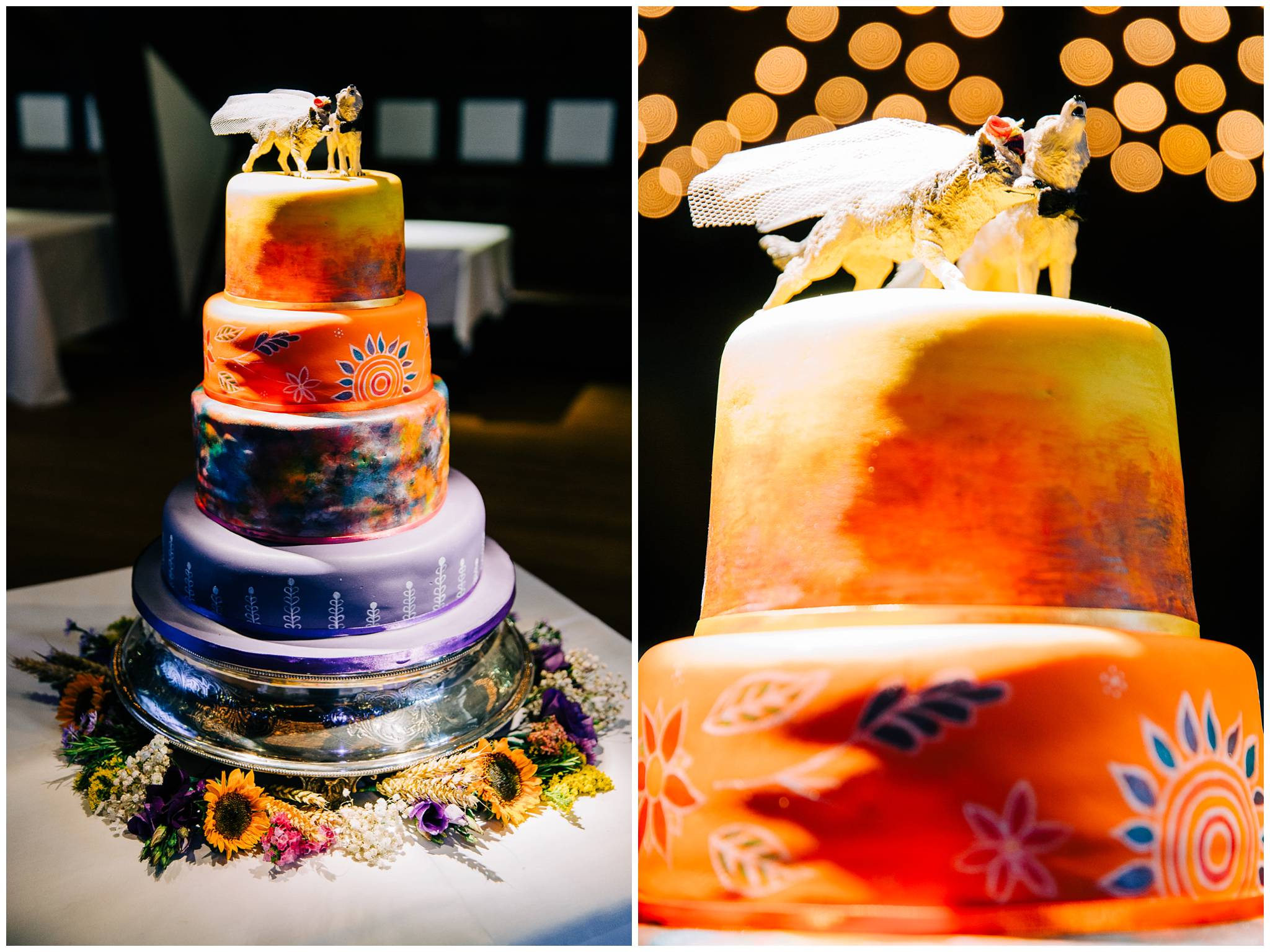 handpainted 4 tier wedding cake with wolves topper