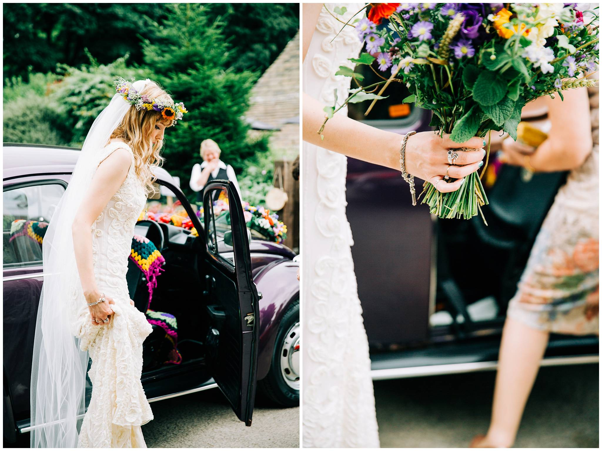 bride straightening dress and holding bouquet