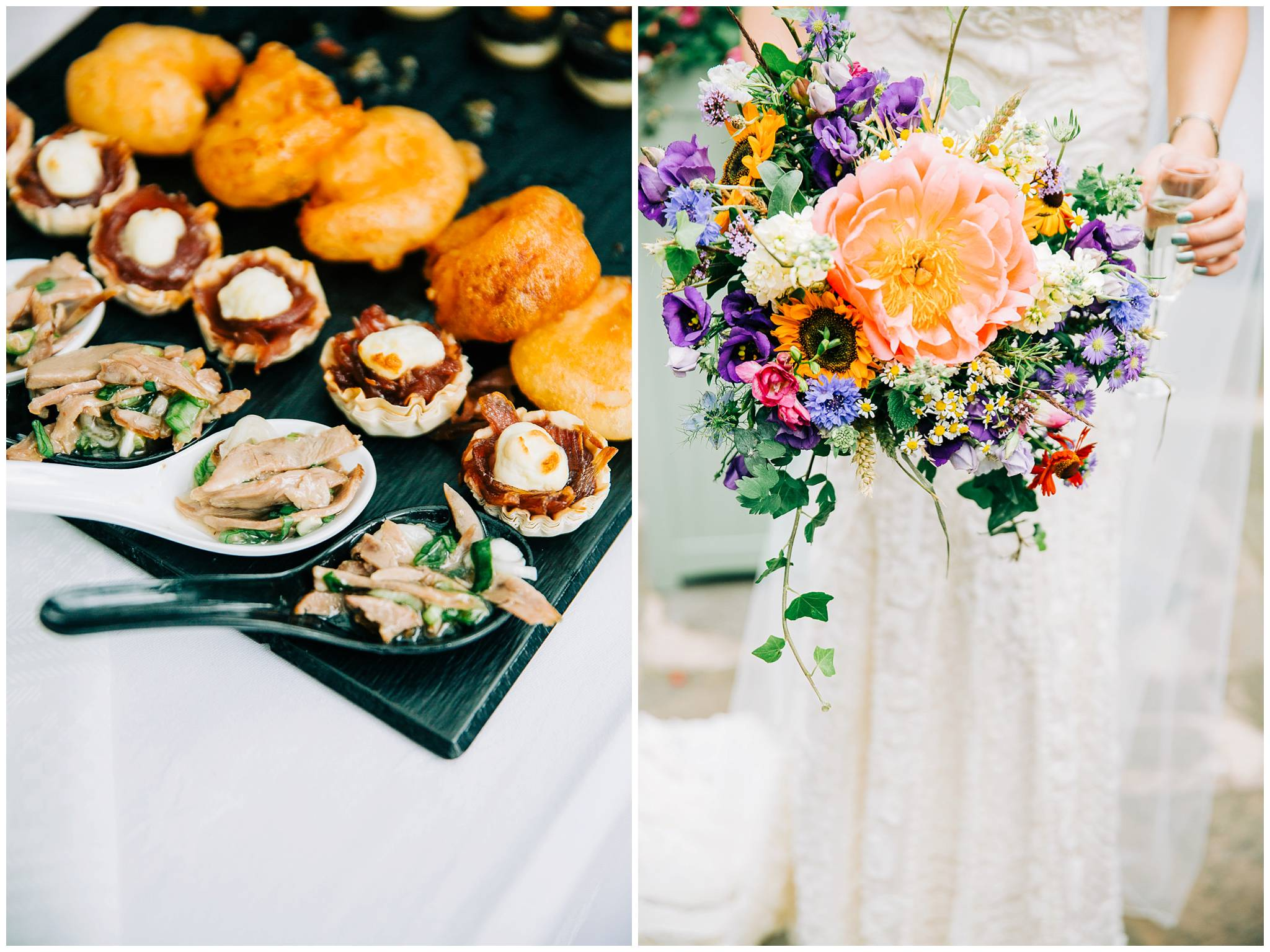 scrumptious canapes and wild floral bouquet