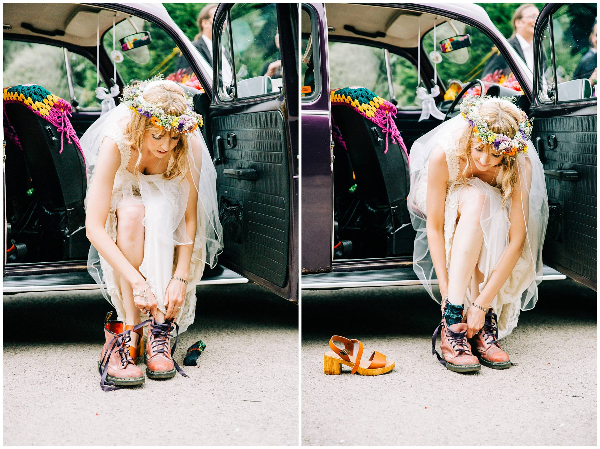 bride sat in VW beetle outting on Dr Martens