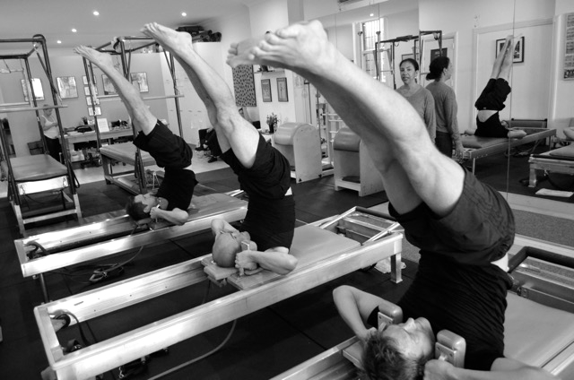 Paddy & lads being taught by Cynthia Lochard, Traditional Advanced Pilates Repertoire