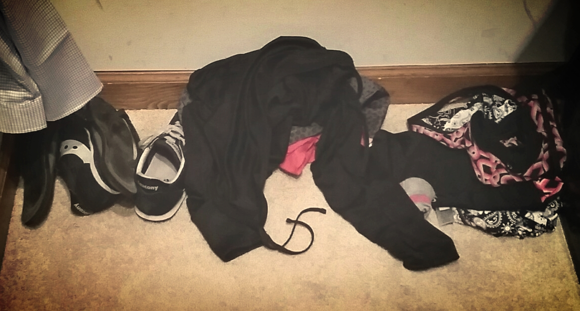 Most days, my transition looks like this: a bunch of black and pink clothes. This is swim > run > coffee transition.