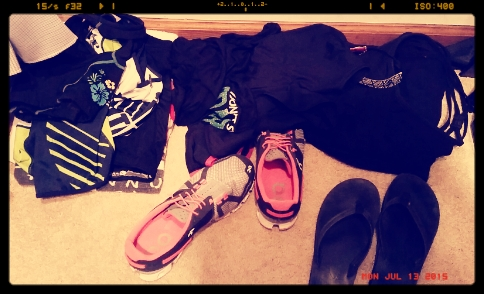 Sometimes it looks like this in organized piles from left to right: bike > run > pilates.