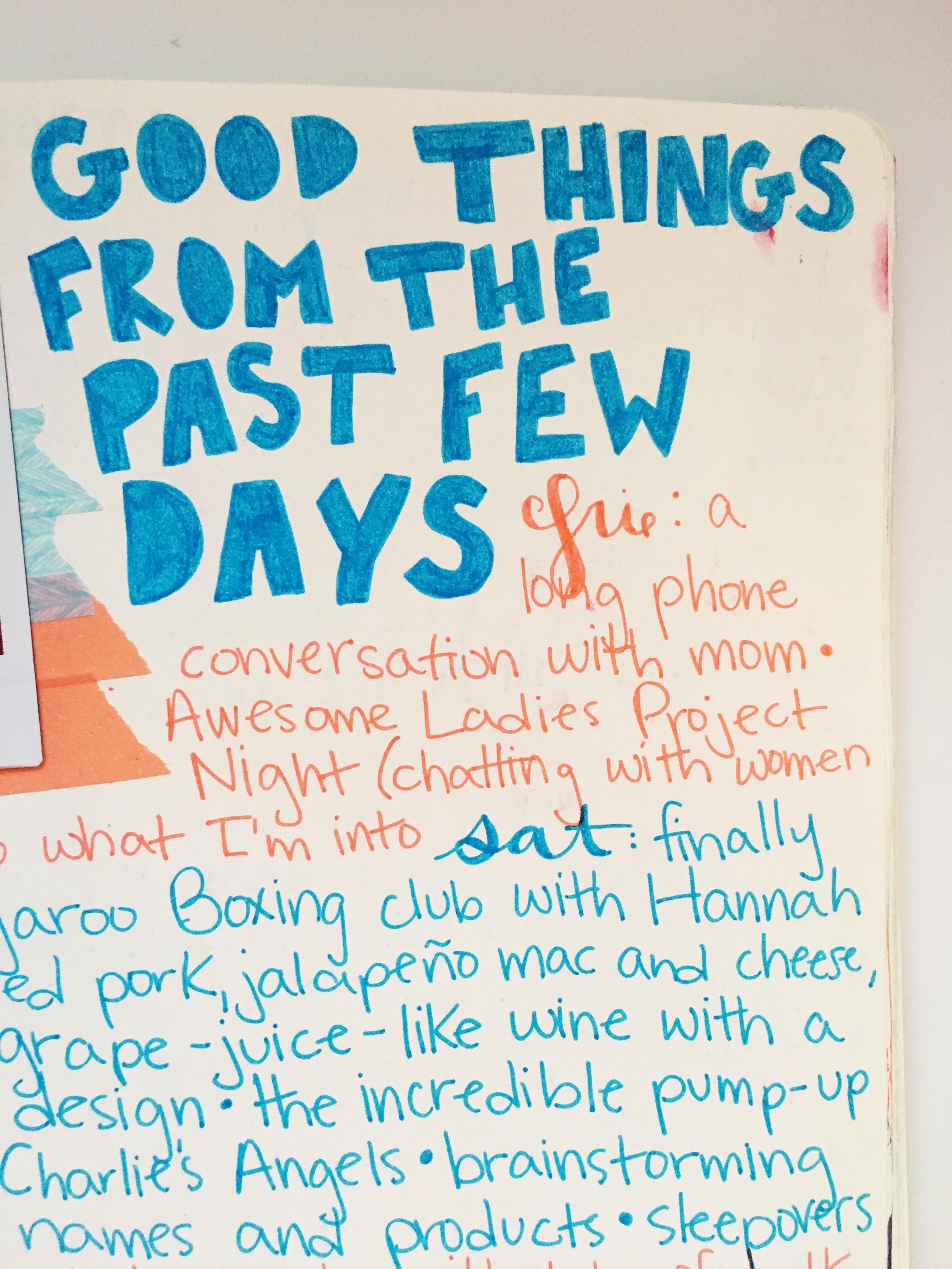 Anything Goes Art Journal Gratitude List