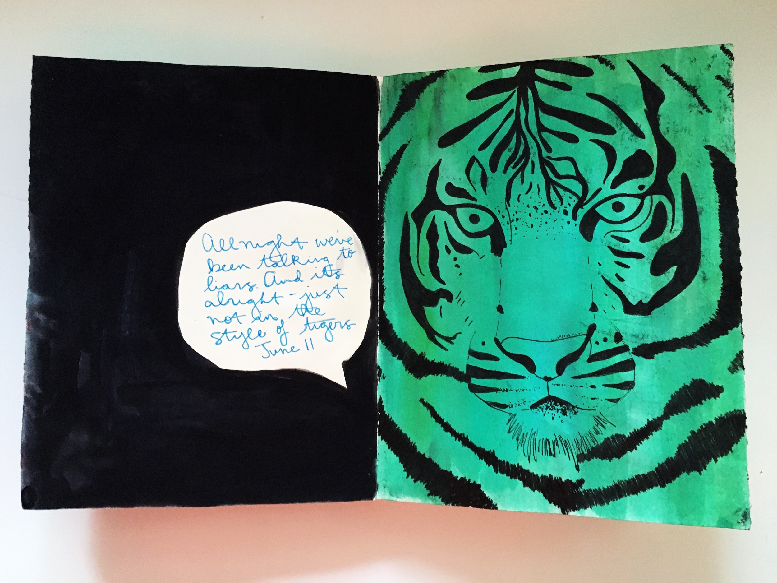 Art Journal Teal Tiger