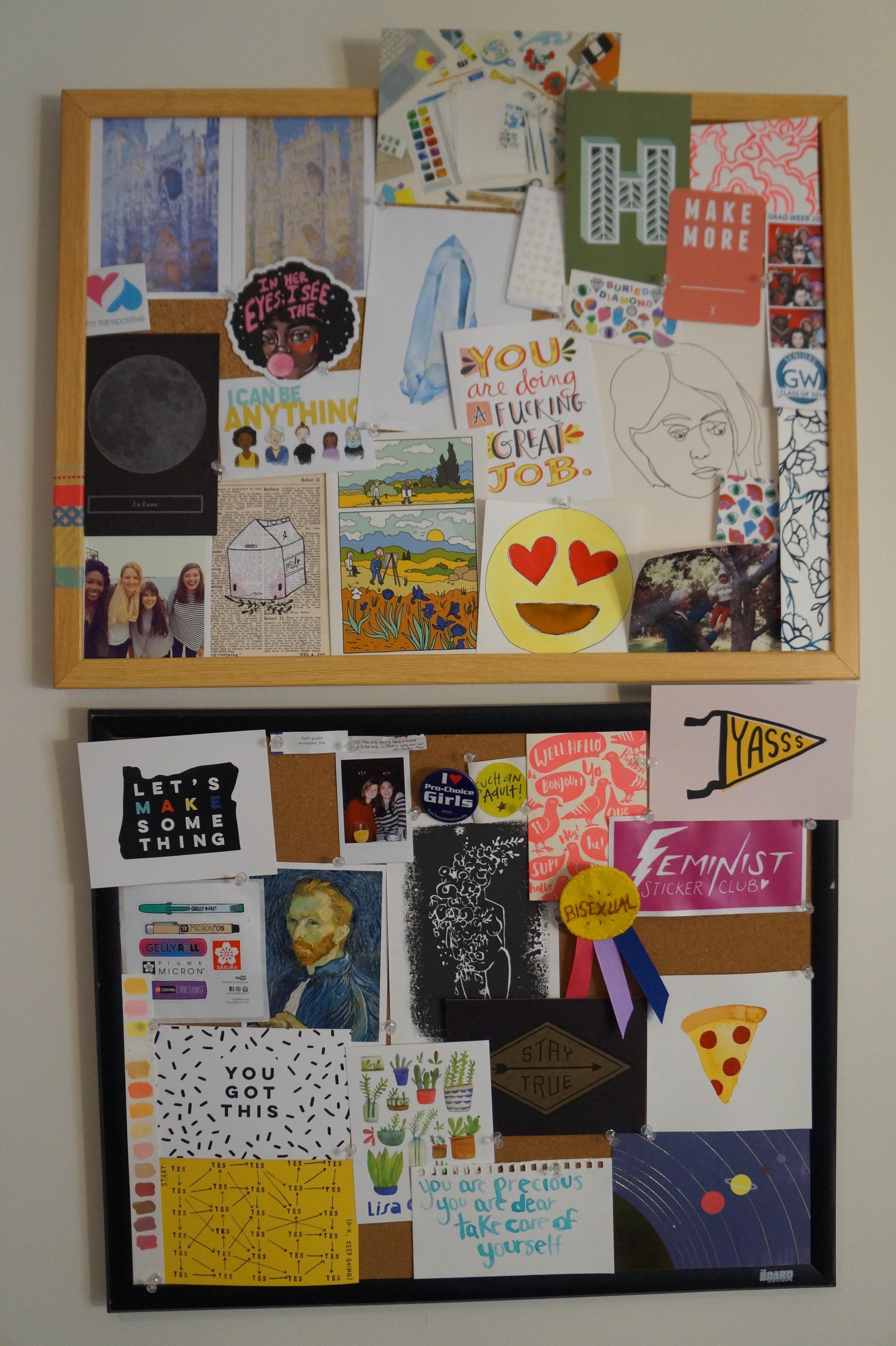 Workspace inspiration bulletin board