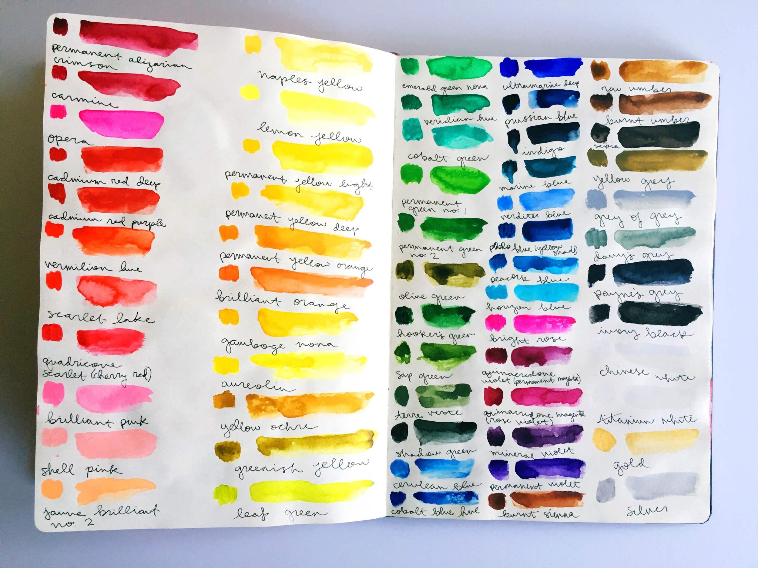 watercolor swatch sketchbook