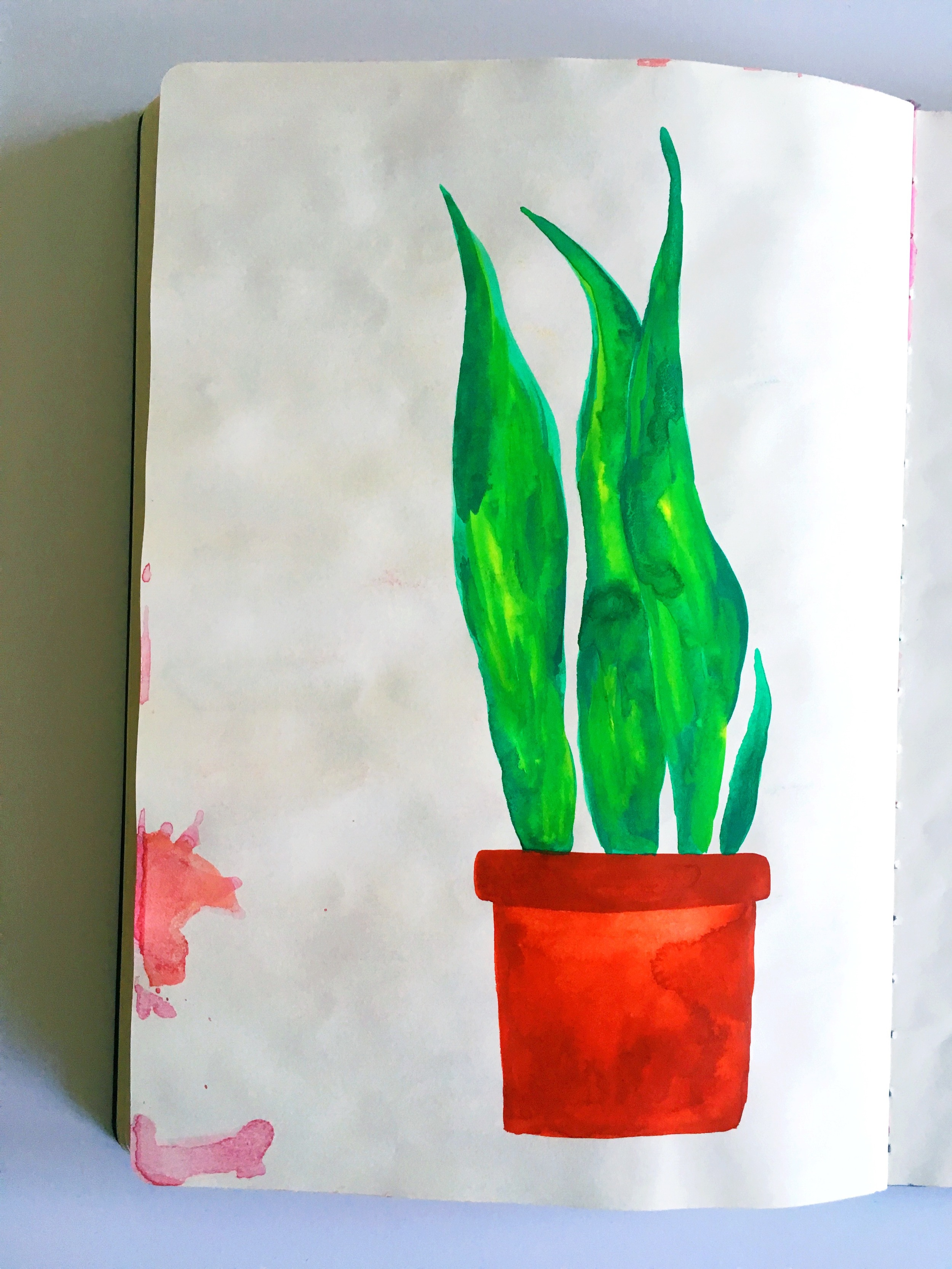 gouache potted plant sketchbook
